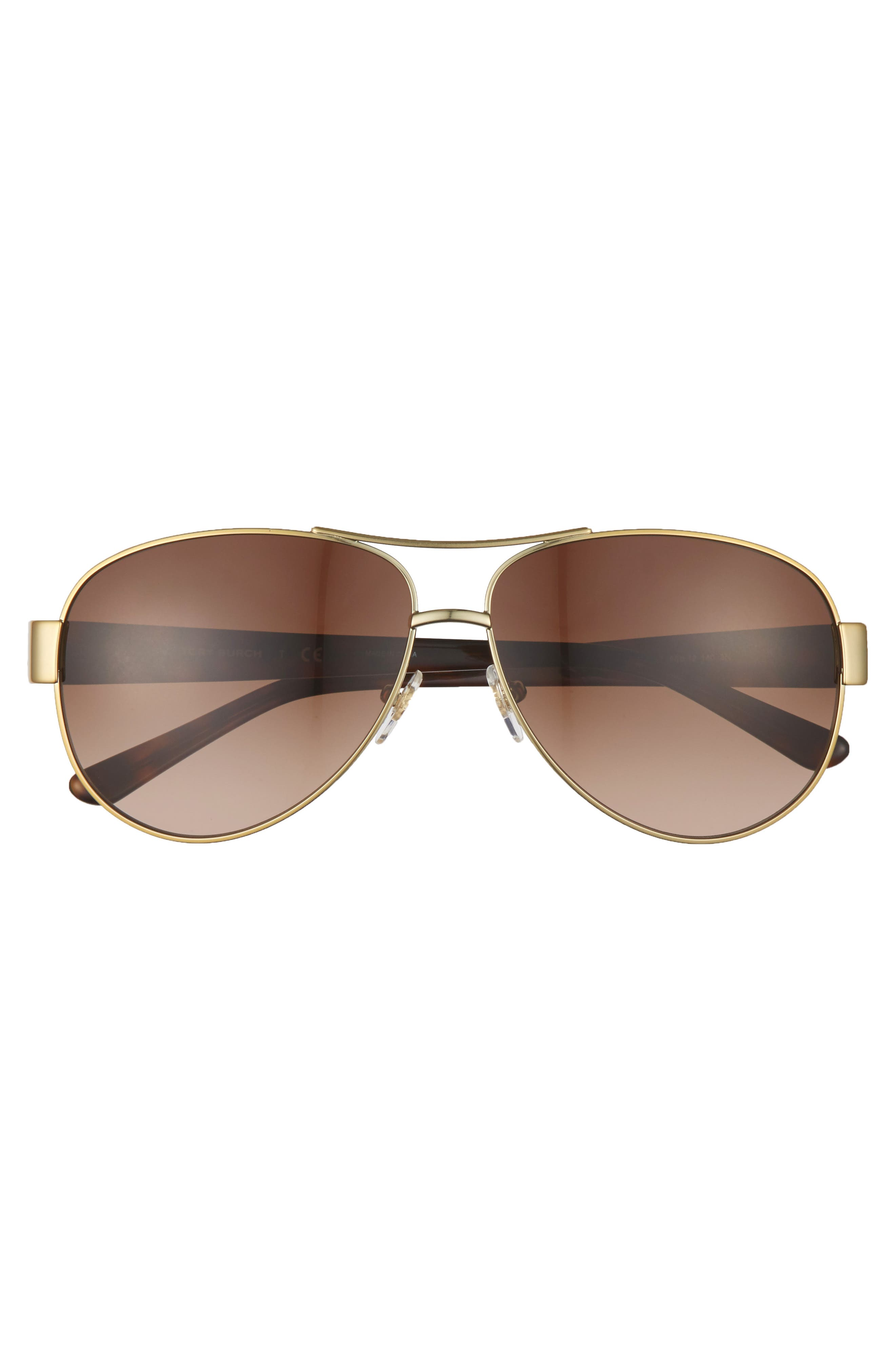 60mm Aviator Sunglasses,                             Alternate thumbnail 3, color,                             GOLD/ BROWN