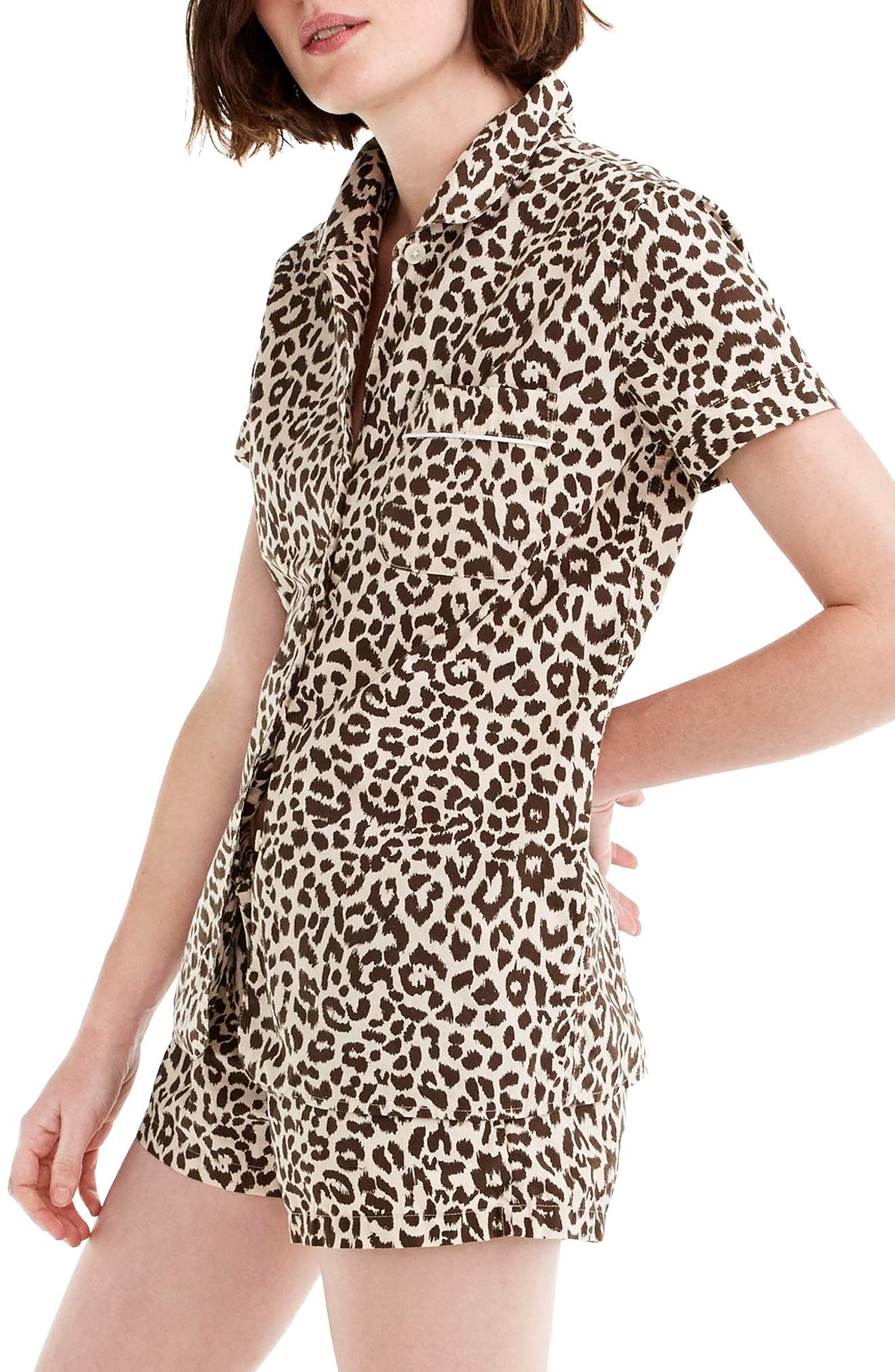 Leopard Print Cotton Pajamas,                             Main thumbnail 1, color,                             MULTI