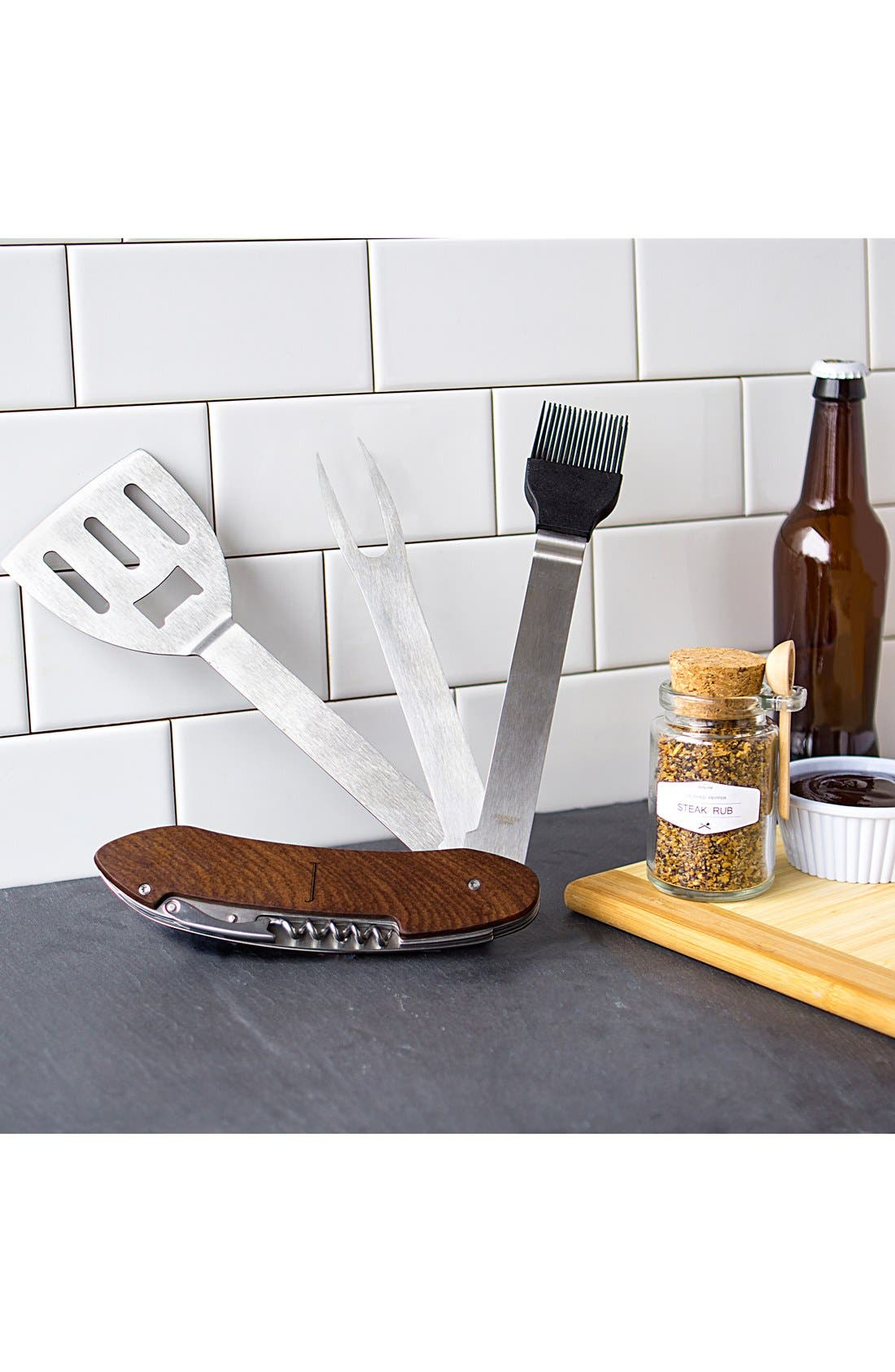 Monogram 5-in-1 Grill Tool,                             Alternate thumbnail 3, color,                             BROWN - A