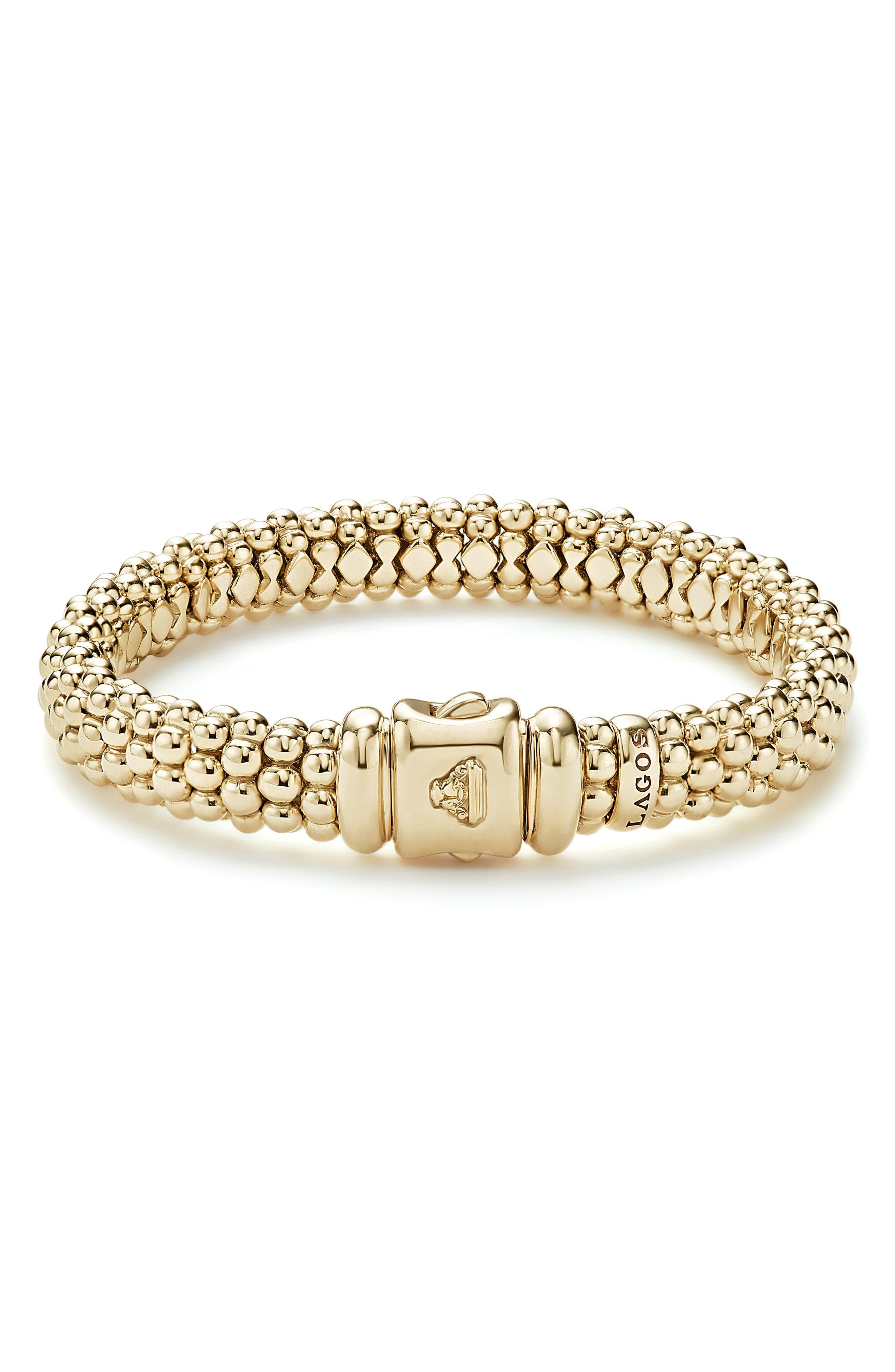'Caviar Gold' Rope Bracelet,                             Alternate thumbnail 3, color,                             GOLD