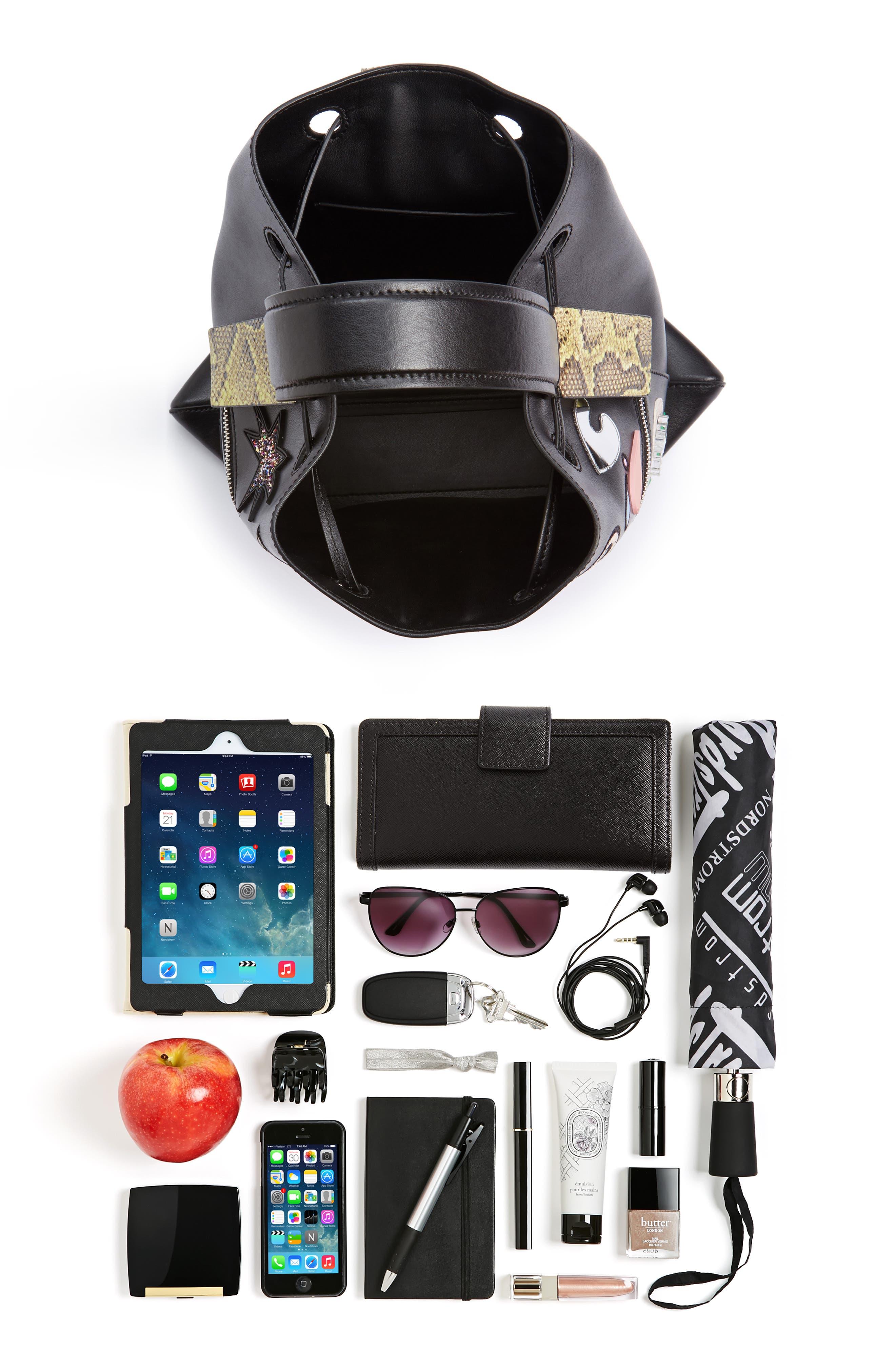 Rizo Badge Leather Backpack,                             Alternate thumbnail 3, color,                             001