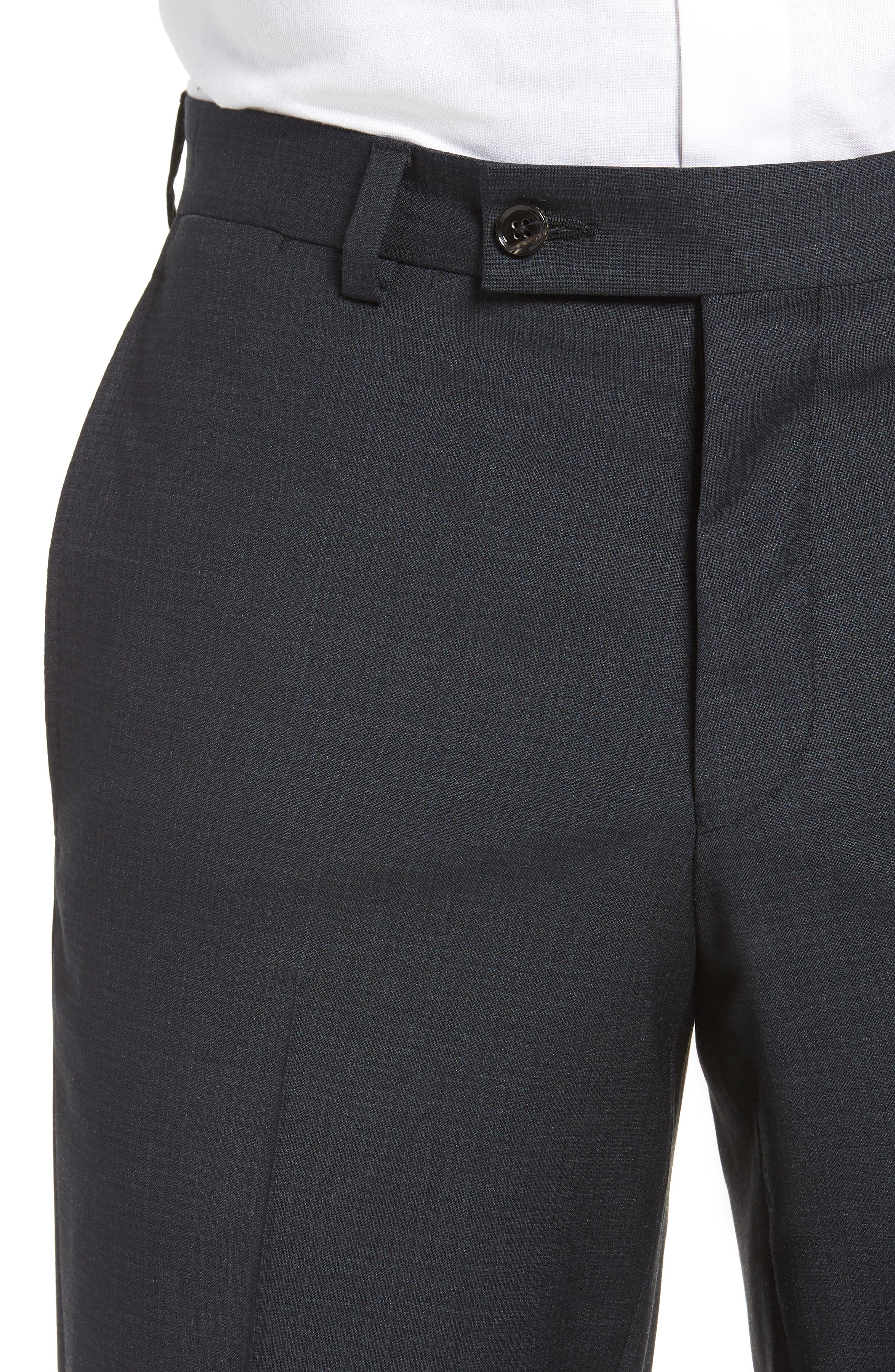Jefferson Flat Front Check Wool Trousers,                             Alternate thumbnail 4, color,                             GREY
