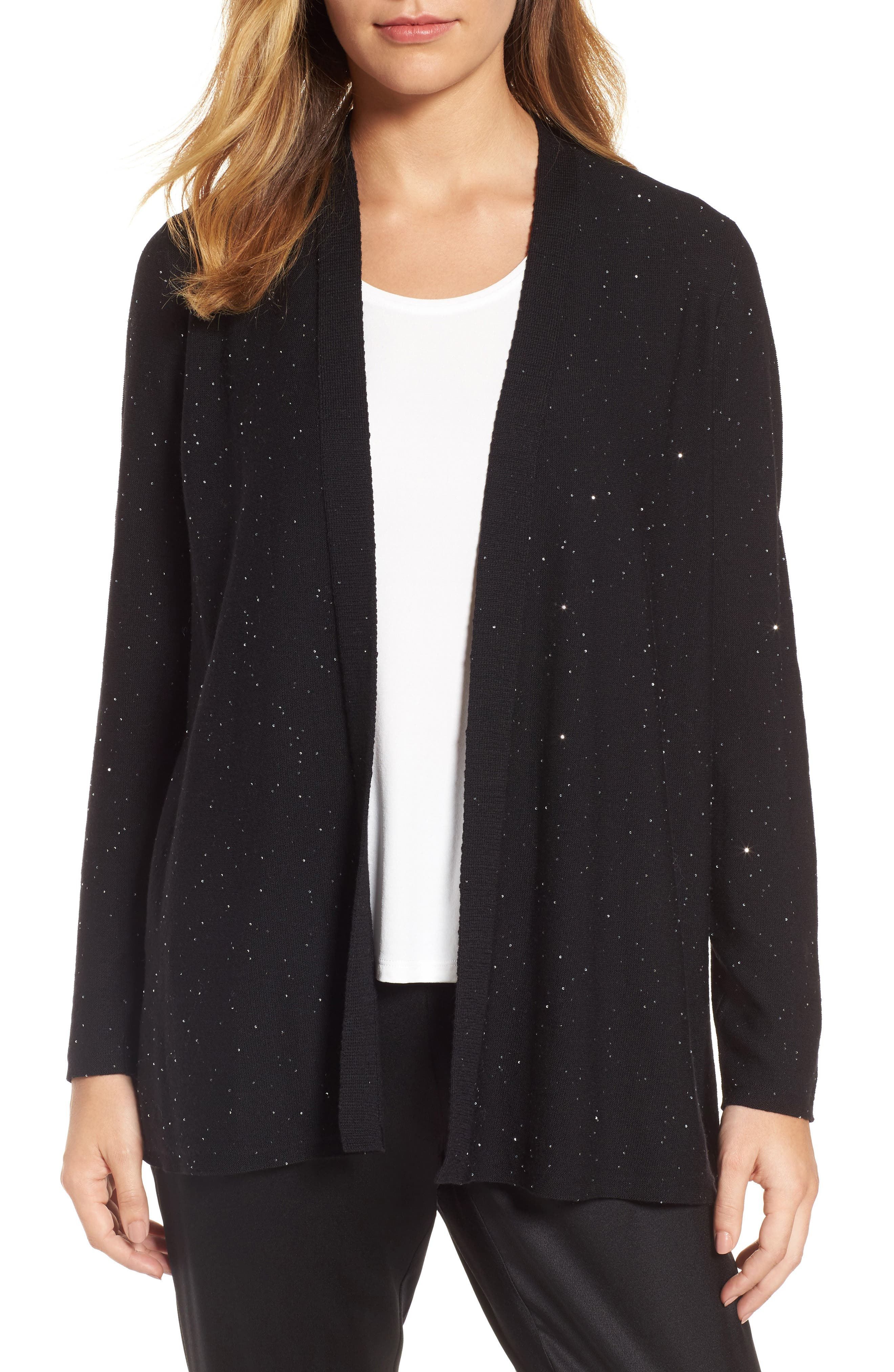 Sequin Merino Wool Cardigan,                         Main,                         color, 001