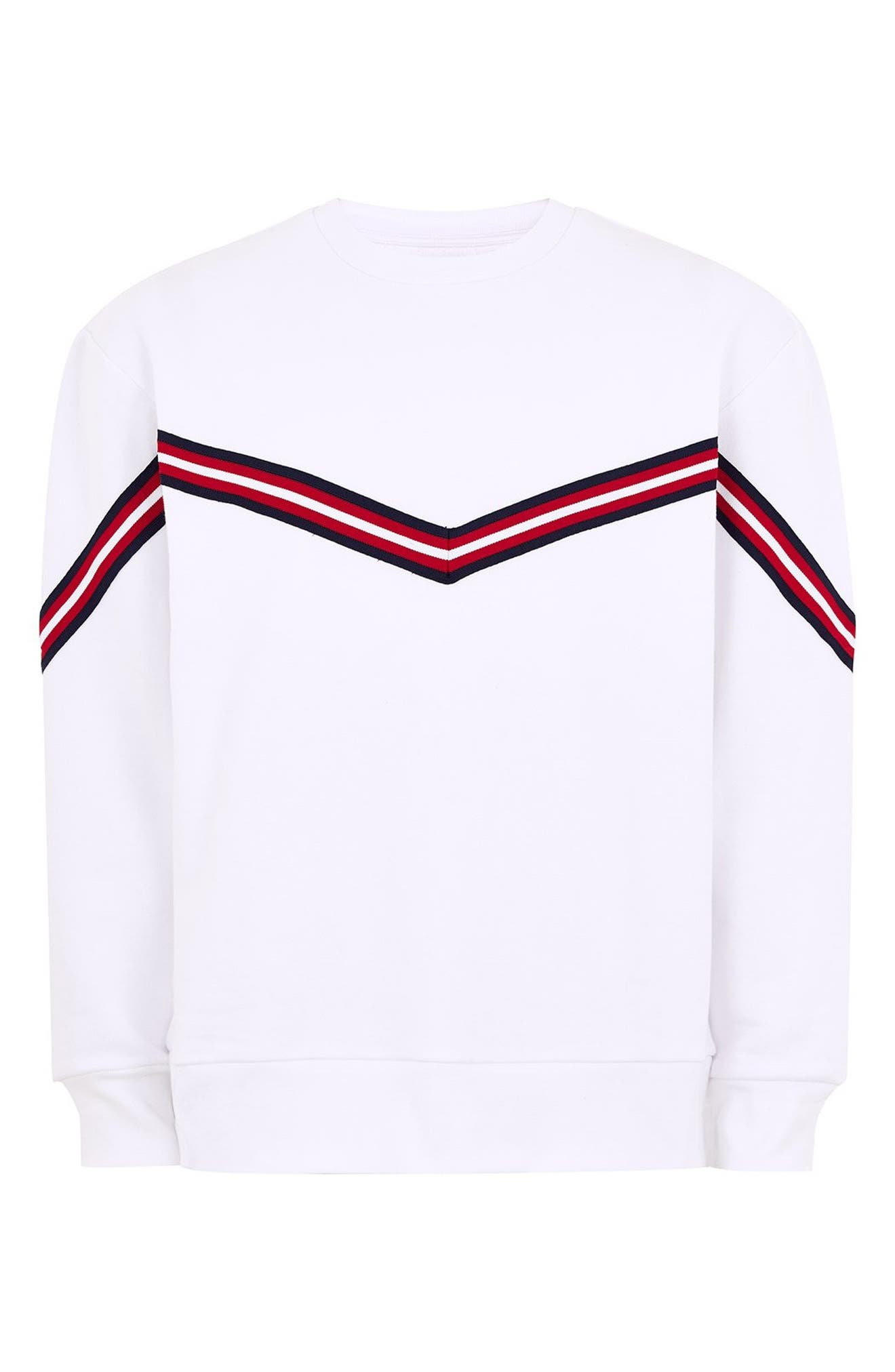 Chevron Tape Sweatshirt,                             Alternate thumbnail 4, color,                             WHITE MULTI