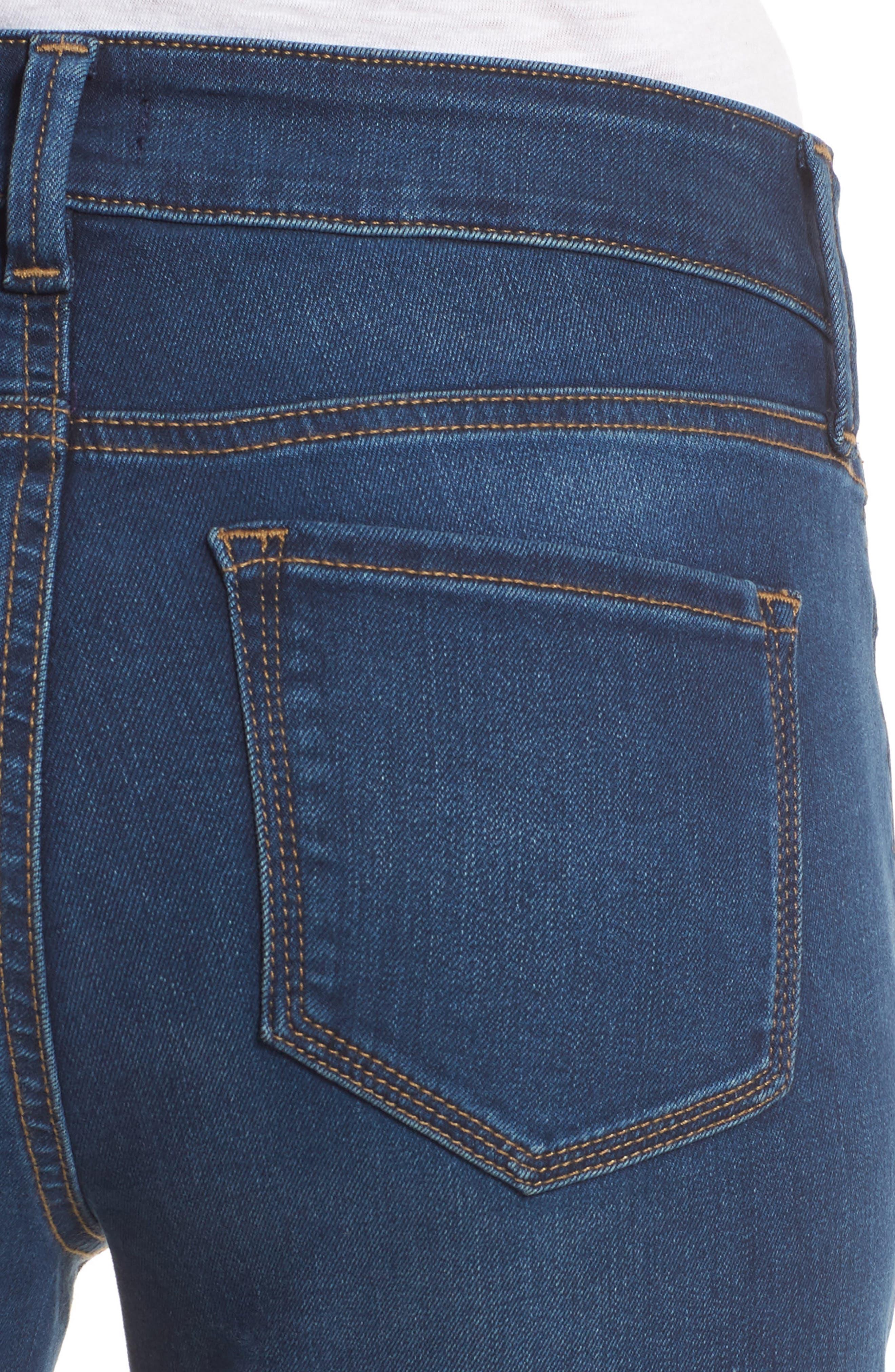 Marilyn Stretch Straight Leg Jeans,                             Alternate thumbnail 4, color,                             SEA BREEZE