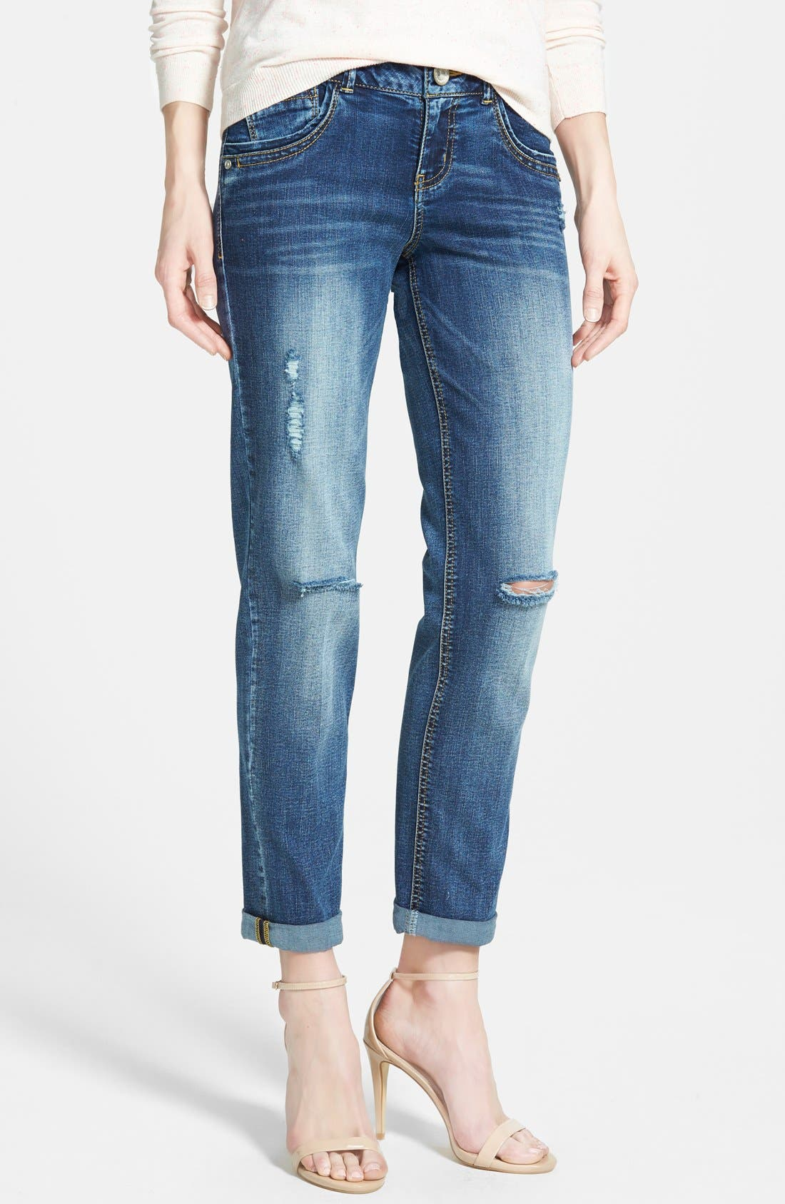 Roll Cuff Destroyed Boyfriend Jeans,                         Main,                         color, 741