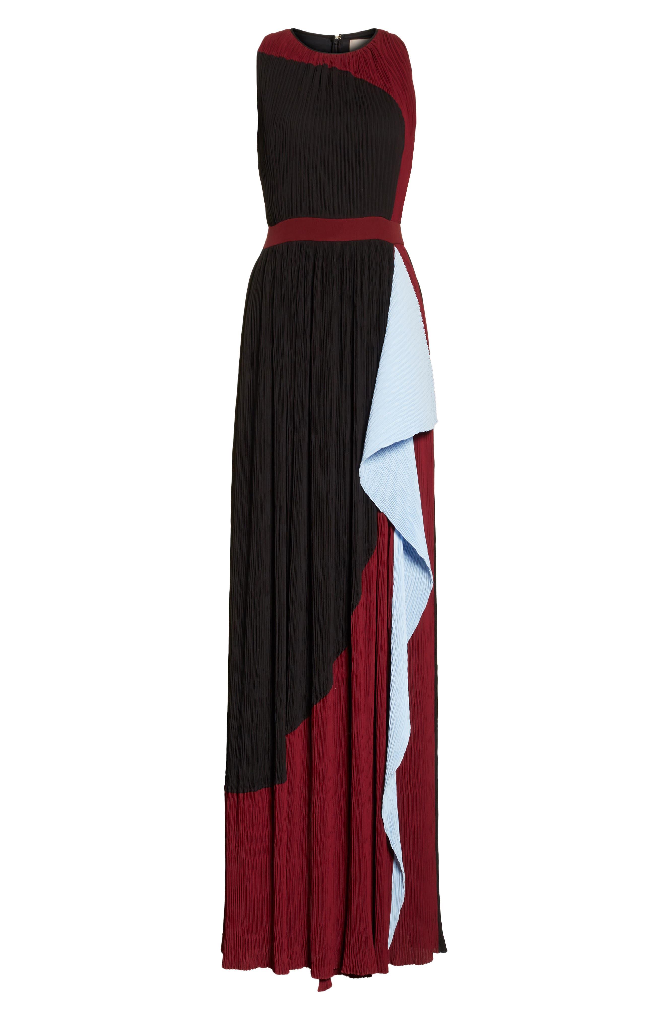 Milda Crystal Pleat Dress,                             Alternate thumbnail 6, color,                             010