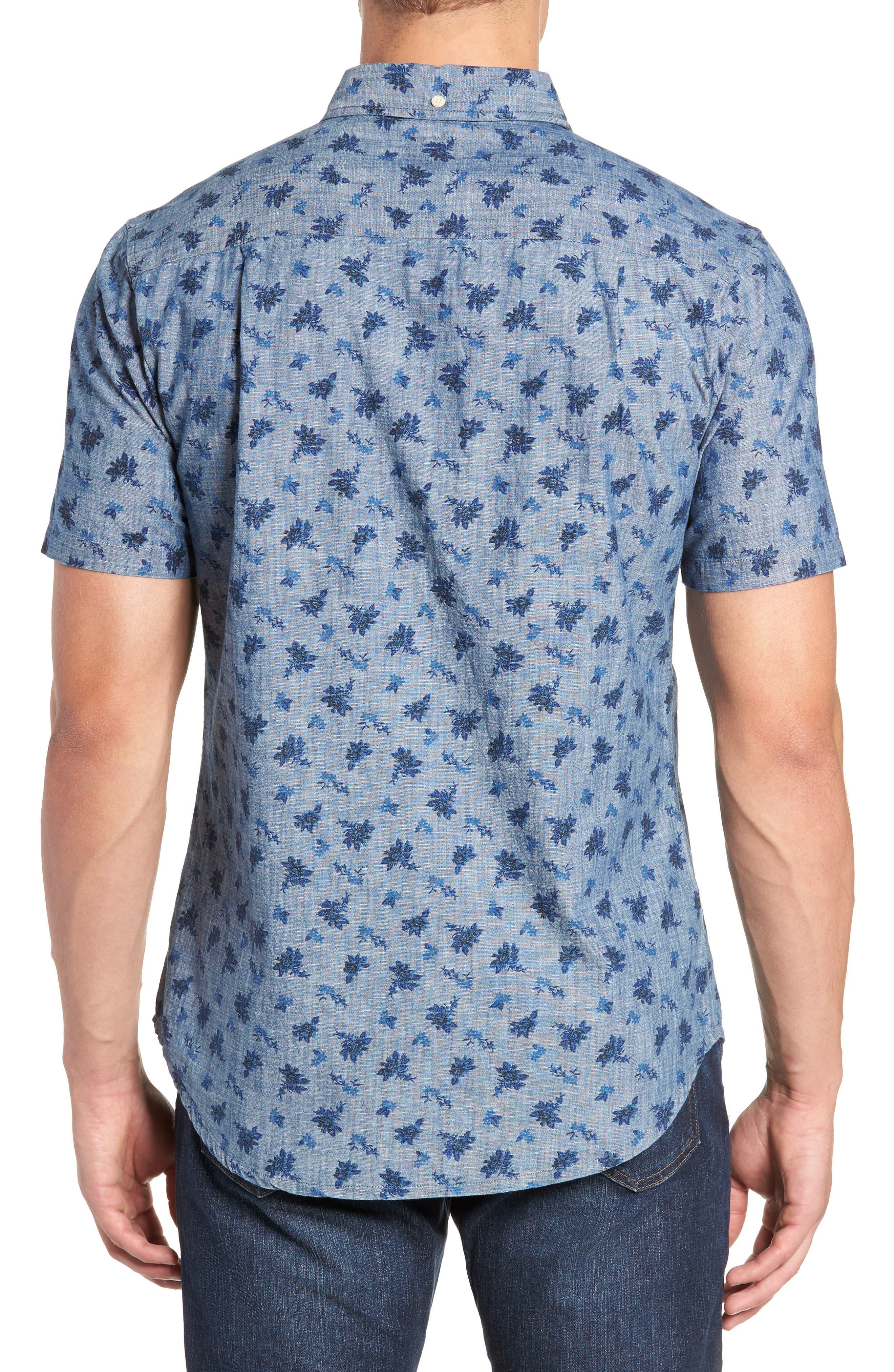 Floral Chambray Regular Fit Sport Shirt,                             Alternate thumbnail 3, color,                             BLUE