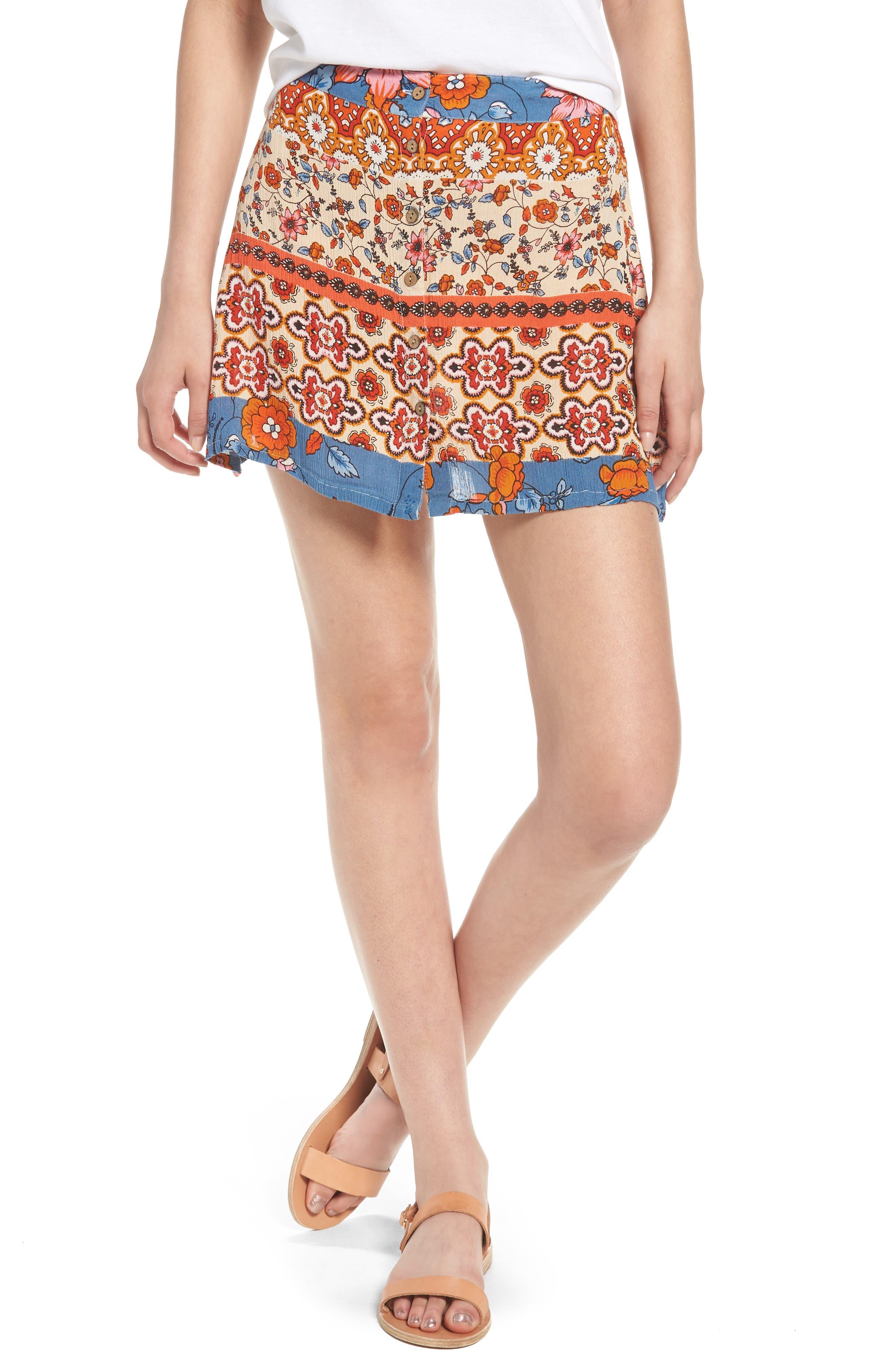 Sun Daze Mixed Print Skirt,                             Main thumbnail 1, color,