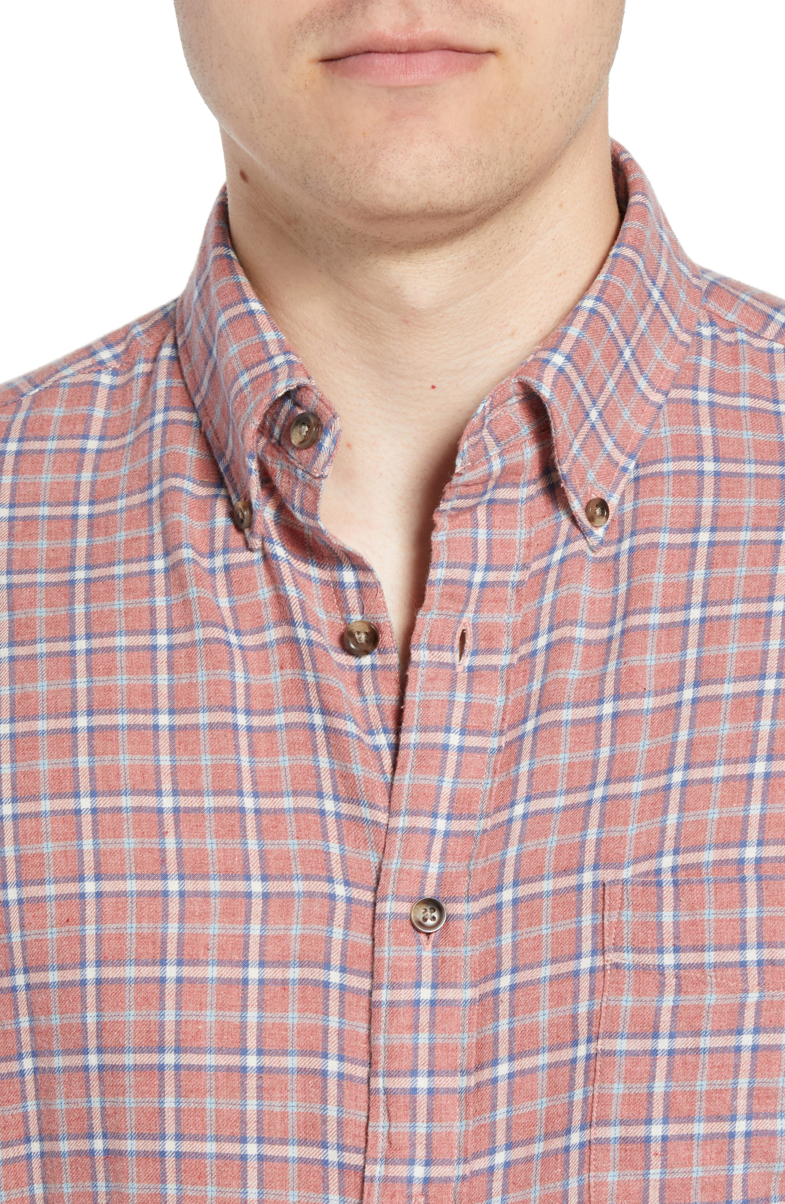 Pacific Check Organic Cotton Sport Shirt,                             Alternate thumbnail 2, color,                             HEATHER RED MULTI