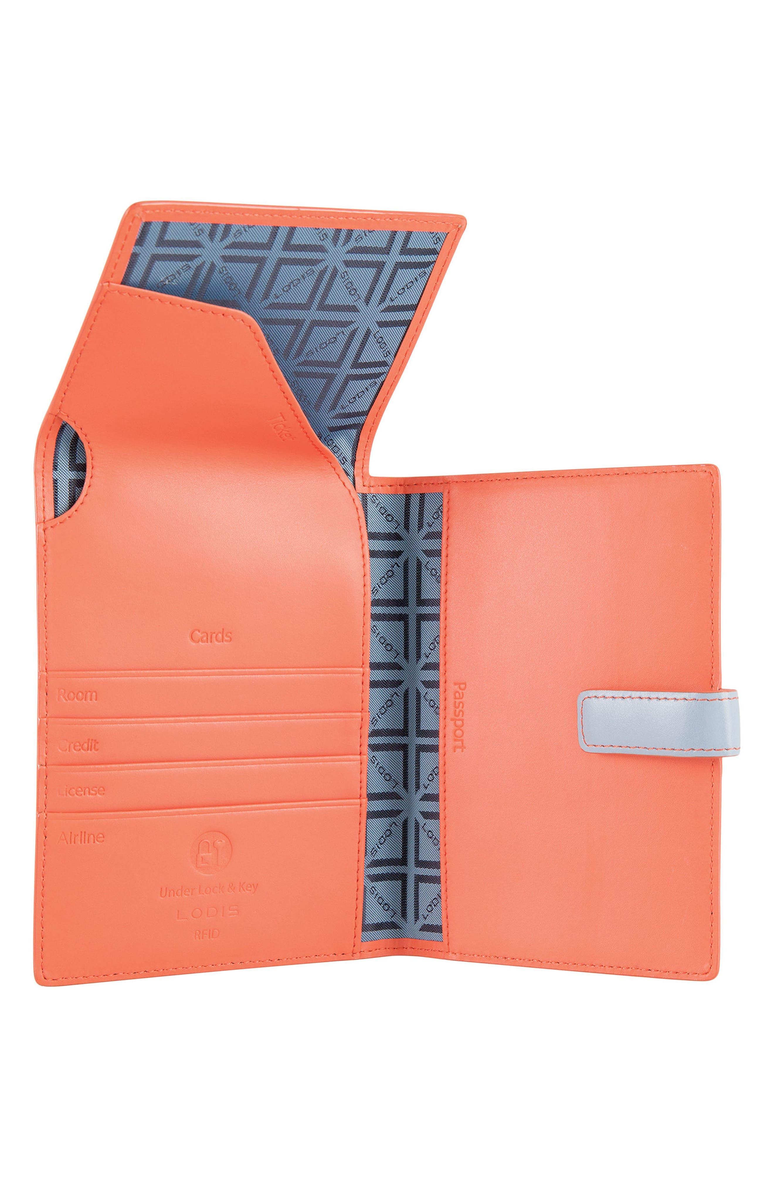 Audrey RFID Leather Passport Wallet,                             Alternate thumbnail 12, color,
