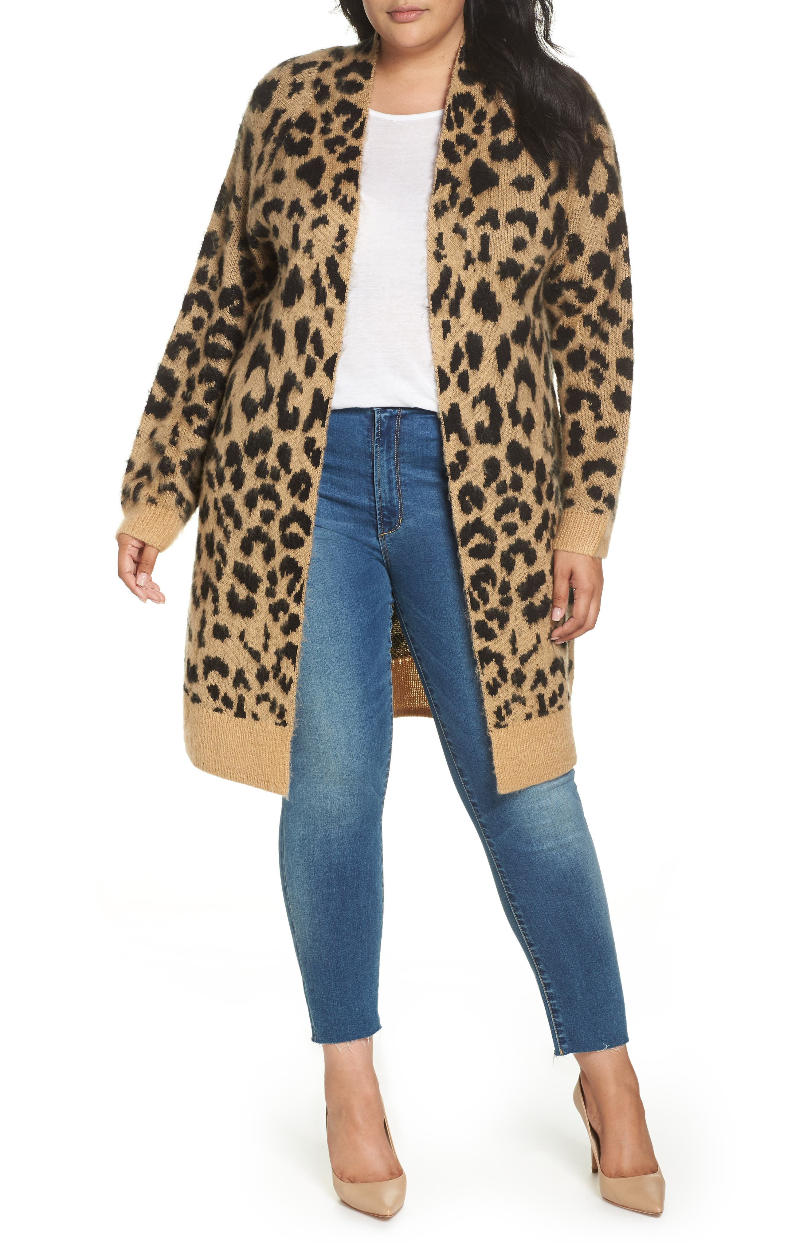 Long Leopard Jacquard Cardigan,                             Alternate thumbnail 2, color,                             260