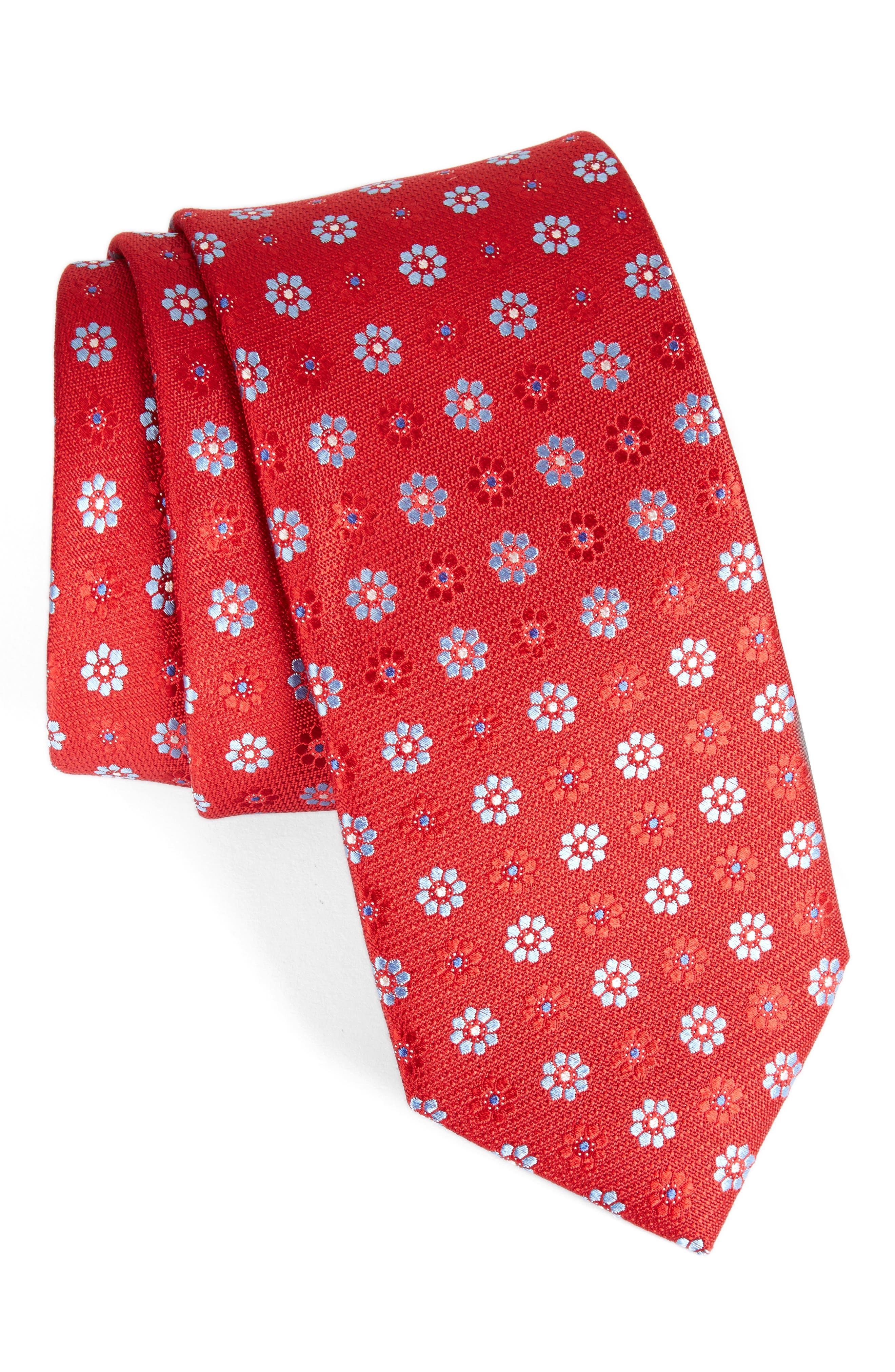 John W. Nordstrom Floral Silk Tie,                             Main thumbnail 4, color,