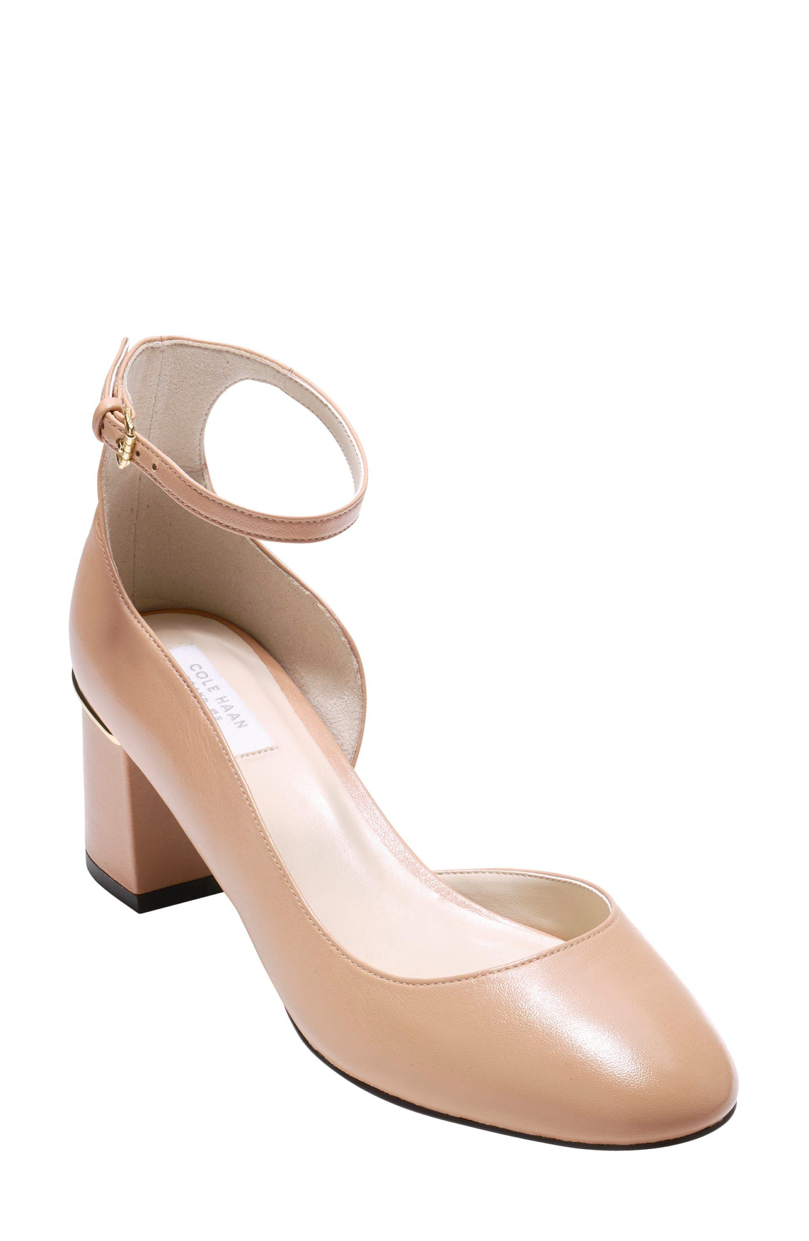 Warner Ankle Strap Pump,                             Main thumbnail 1, color,                             NUDE LEATHER