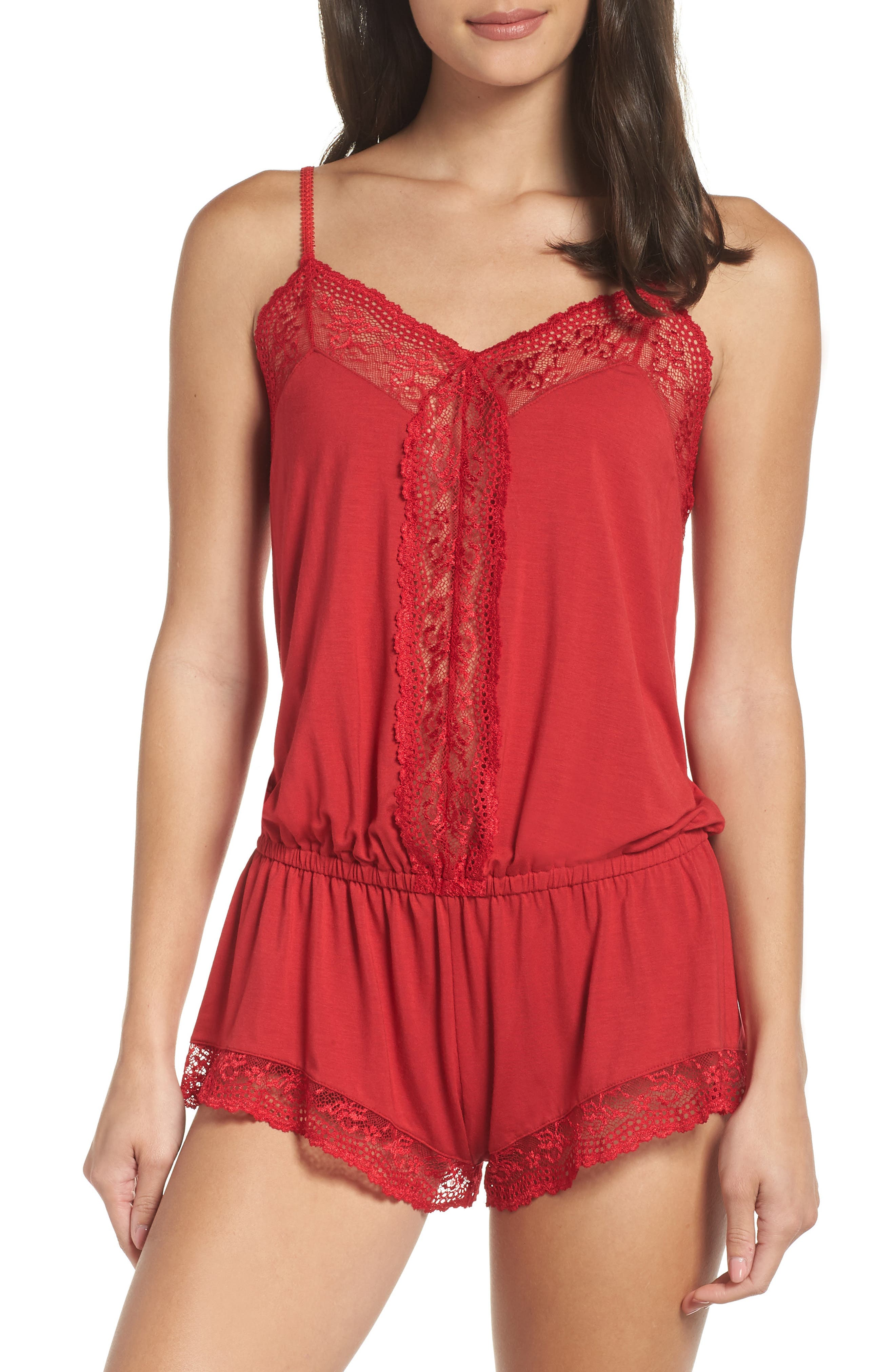Colette the Dreamer Romper,                         Main,                         color, SCARLET