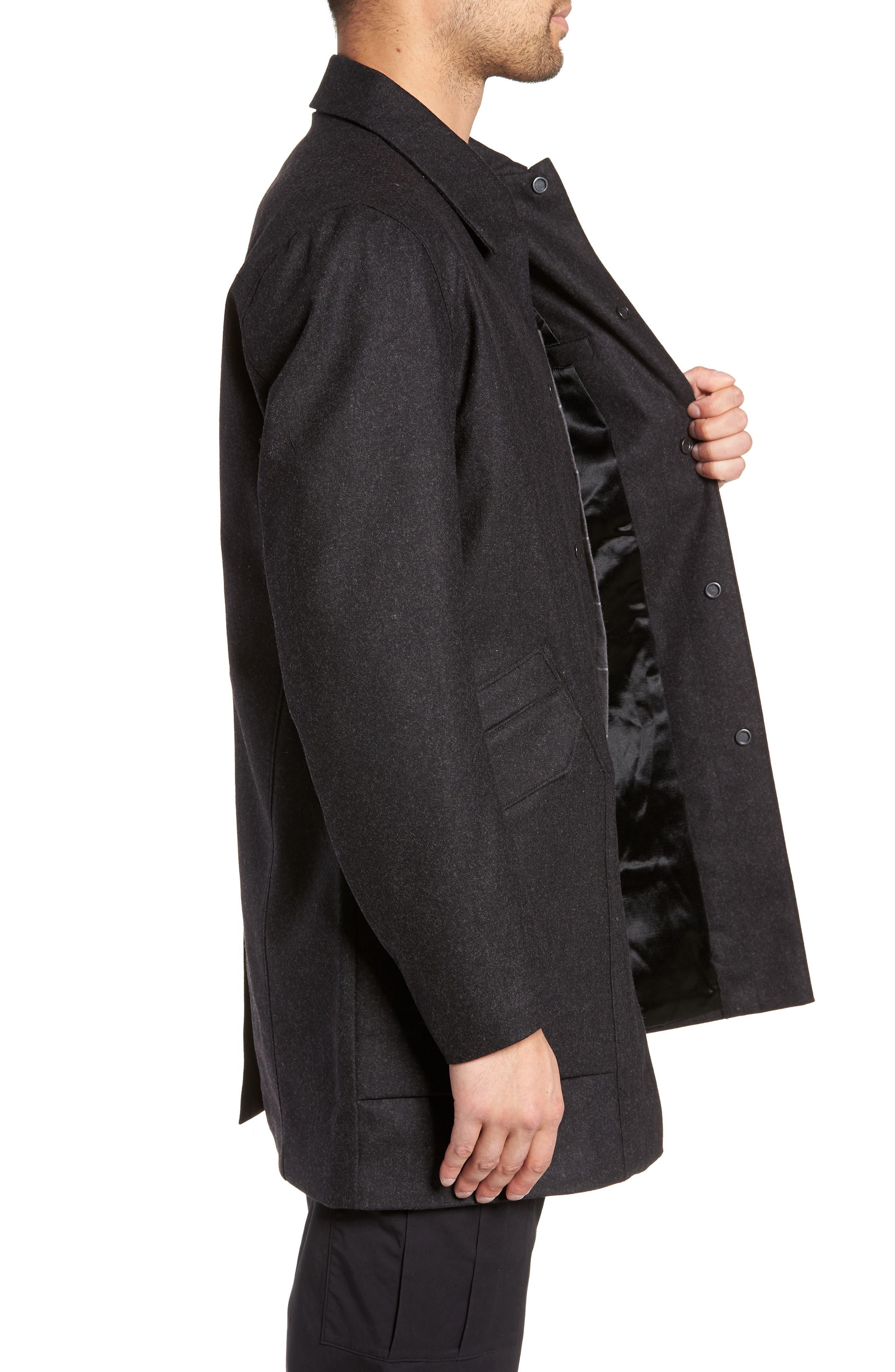 Tech Merino Wool Blend Mac Coat,                             Alternate thumbnail 3, color,                             MEDIUM BLACK