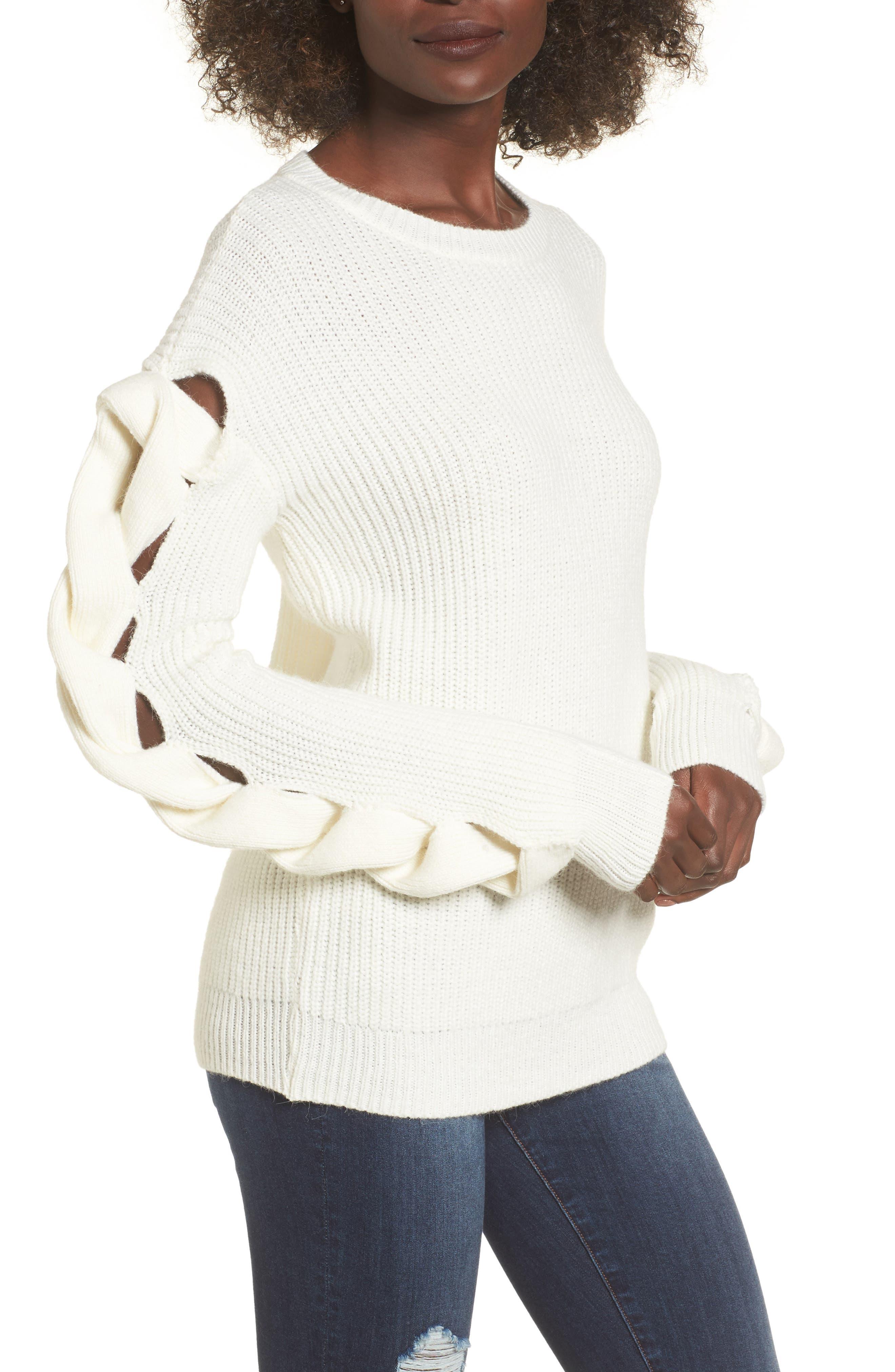 Twist Sleeve Sweater,                             Main thumbnail 3, color,