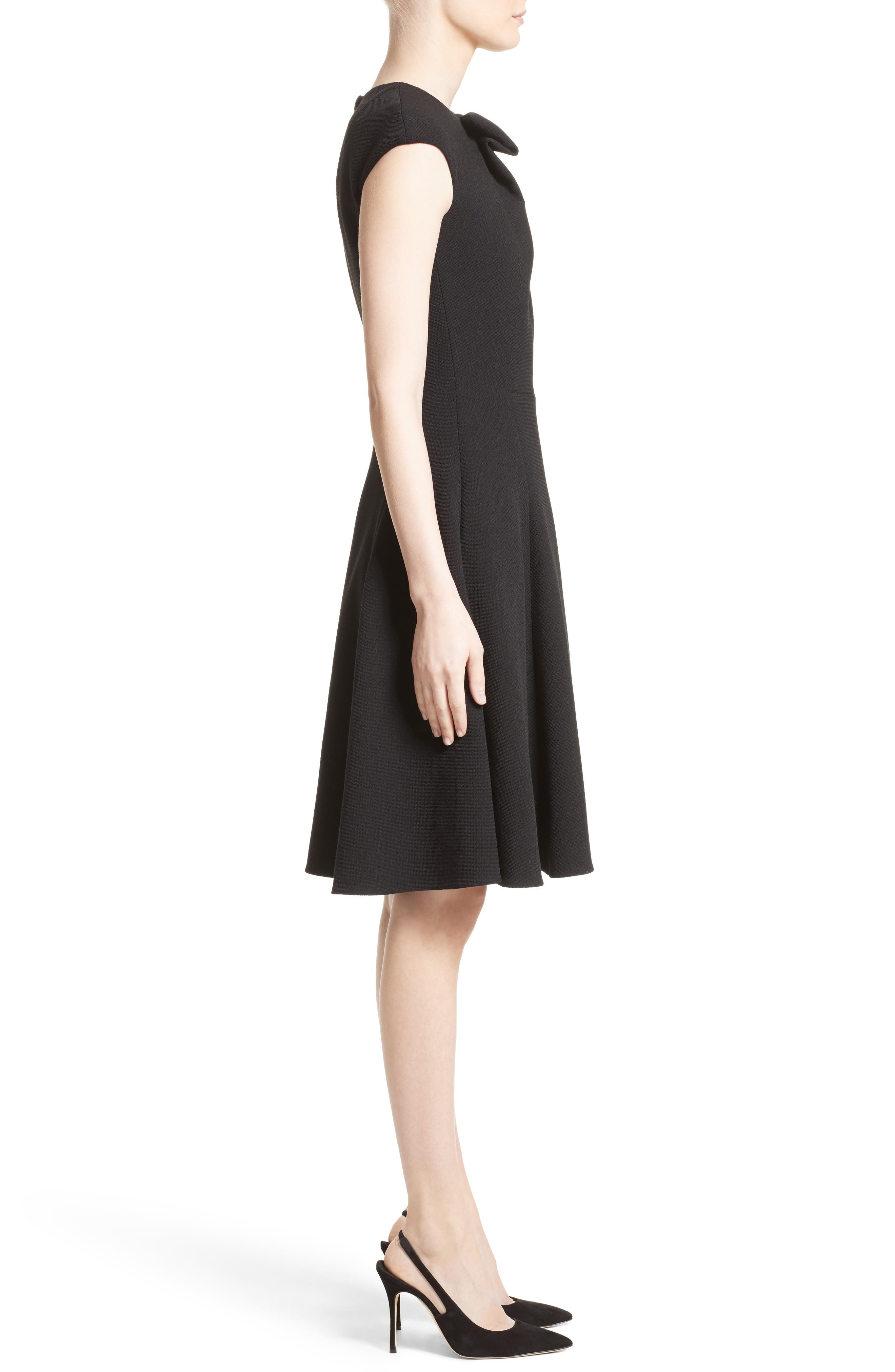 Bow Detail Fit & Flare Dress,                             Alternate thumbnail 3, color,                             001