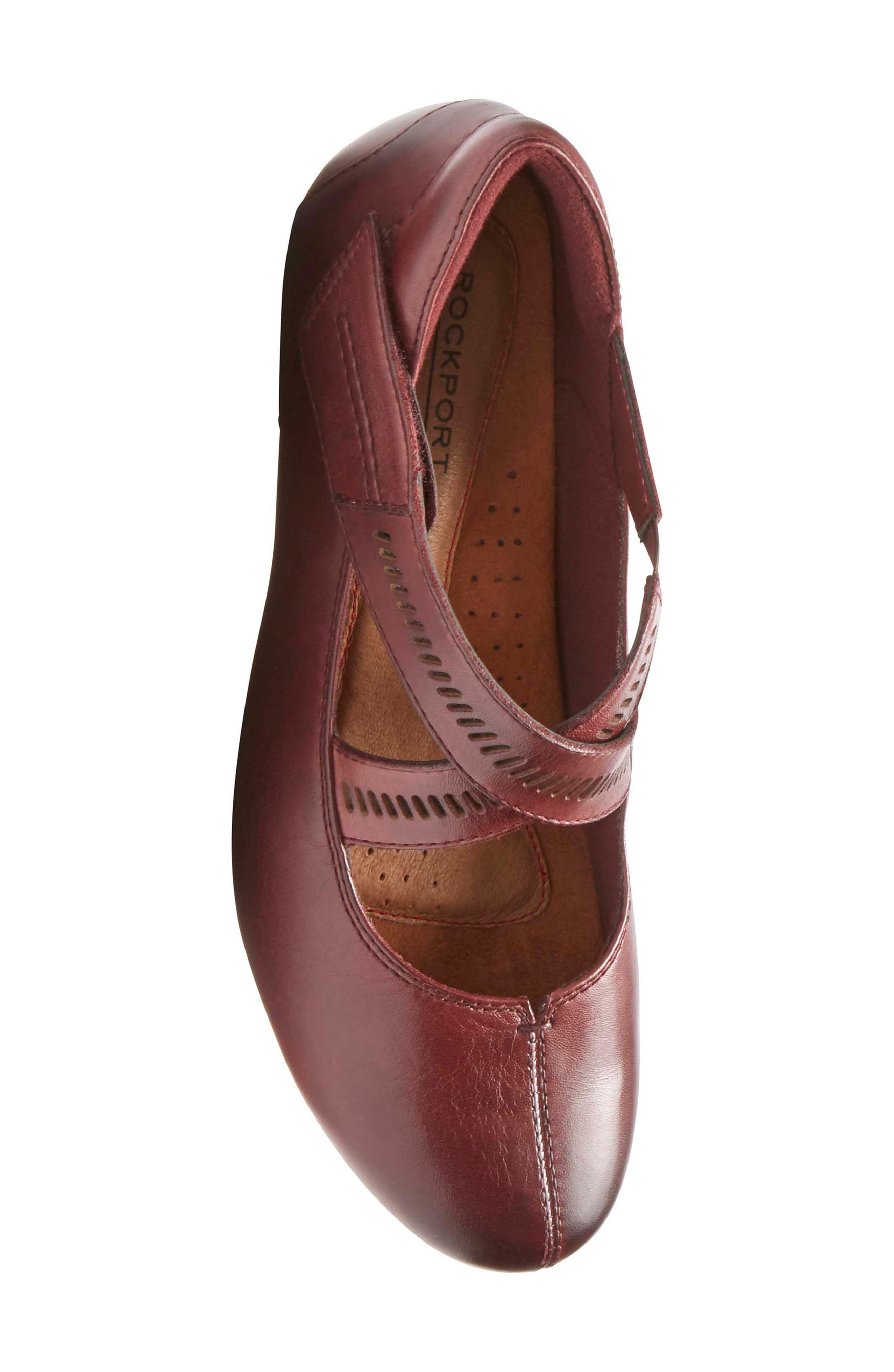 'Janet' Mary Jane Wedge,                             Alternate thumbnail 5, color,                             MERLOT LEATHER