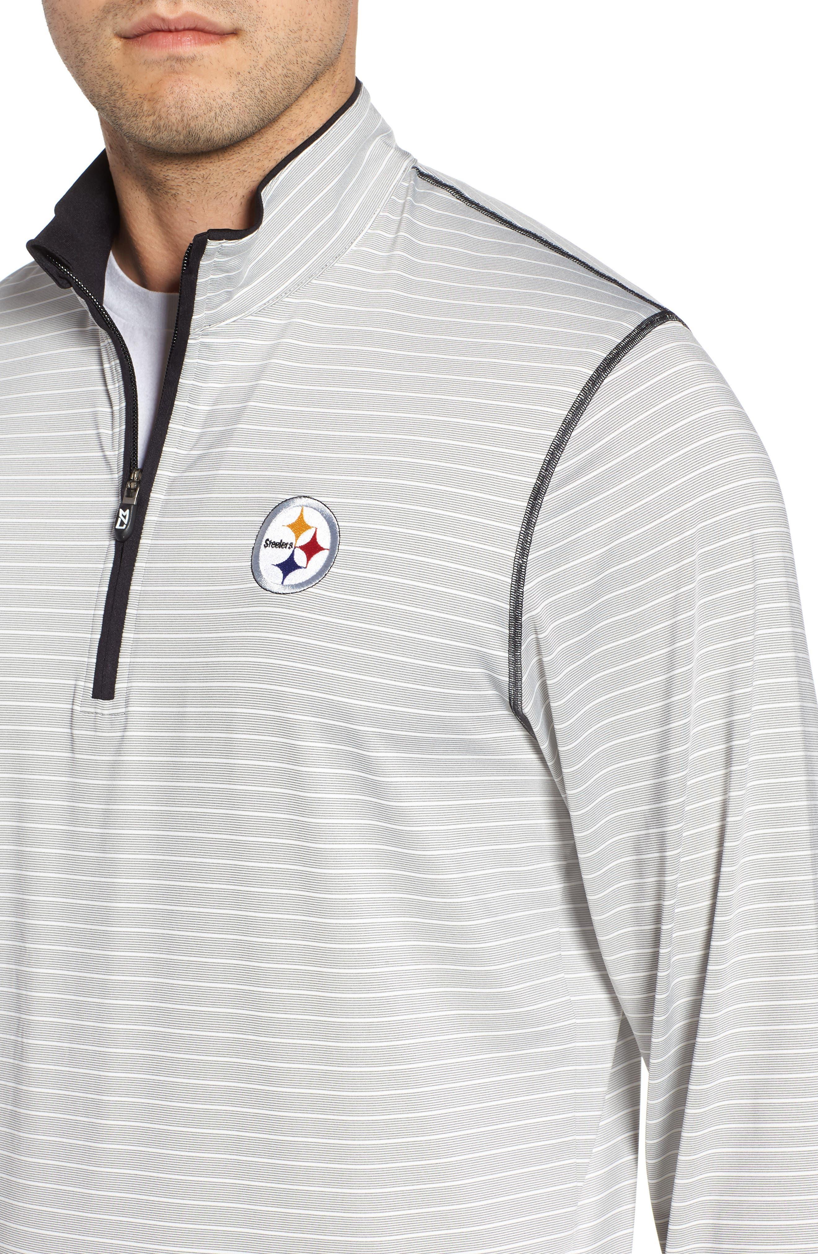 Meridian - Pittsburgh Steelers Regular Fit Half Zip Pullover,                             Alternate thumbnail 4, color,                             BLACK