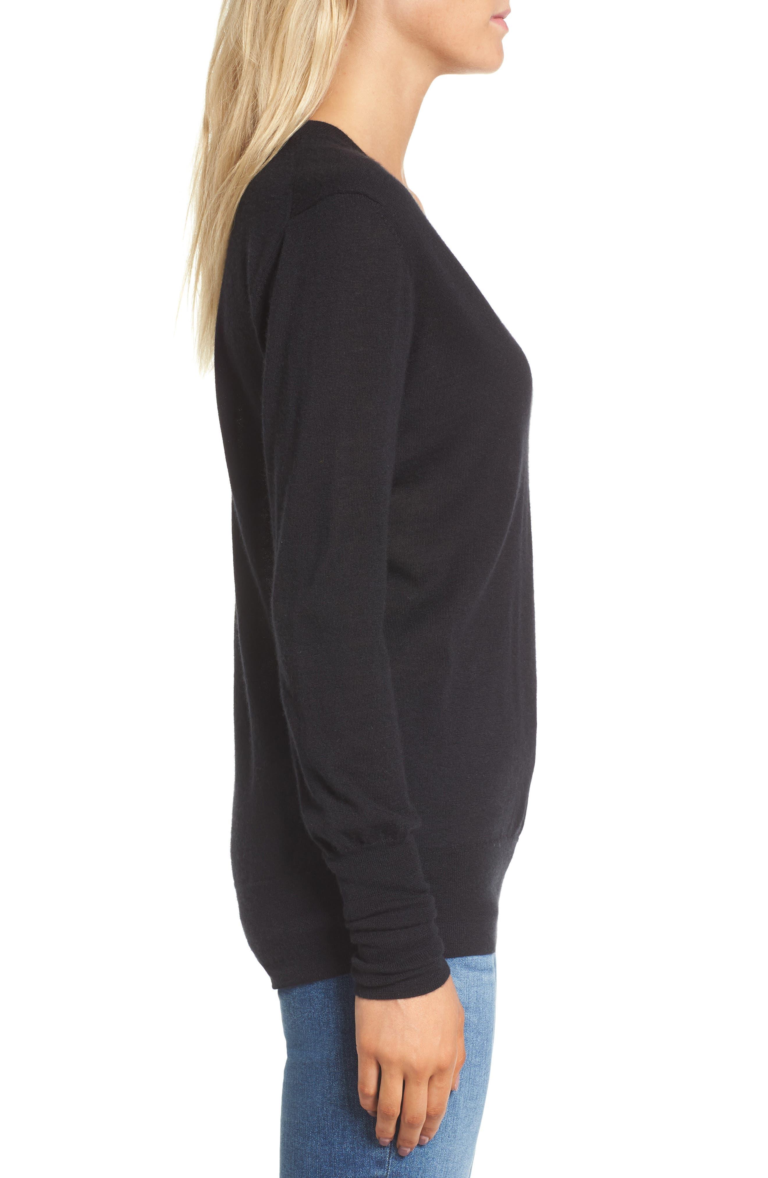 Uma V-Neck Cashmere Sweater,                             Alternate thumbnail 3, color,                             001
