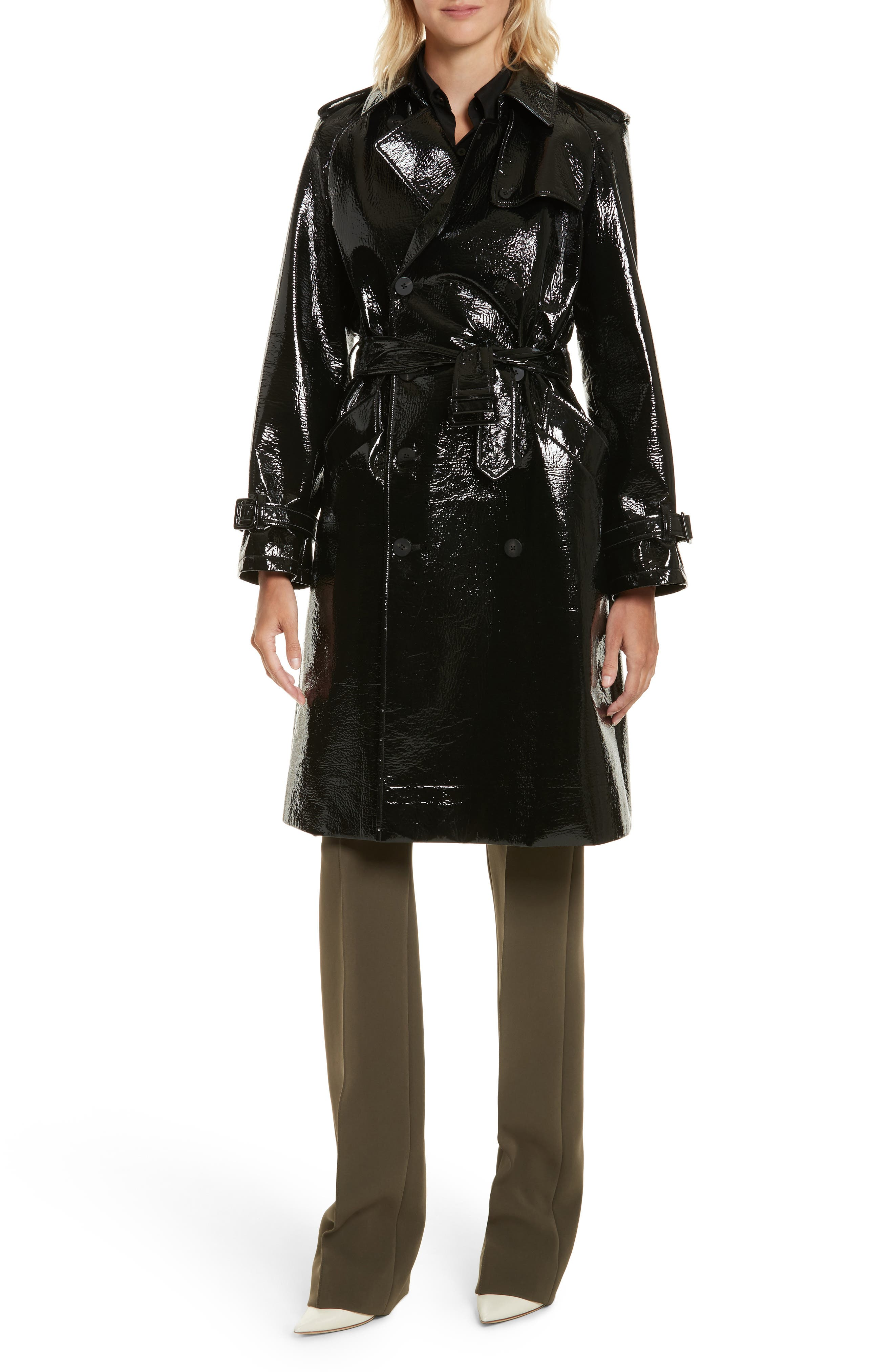 Patent Trench Coat,                             Alternate thumbnail 6, color,                             001