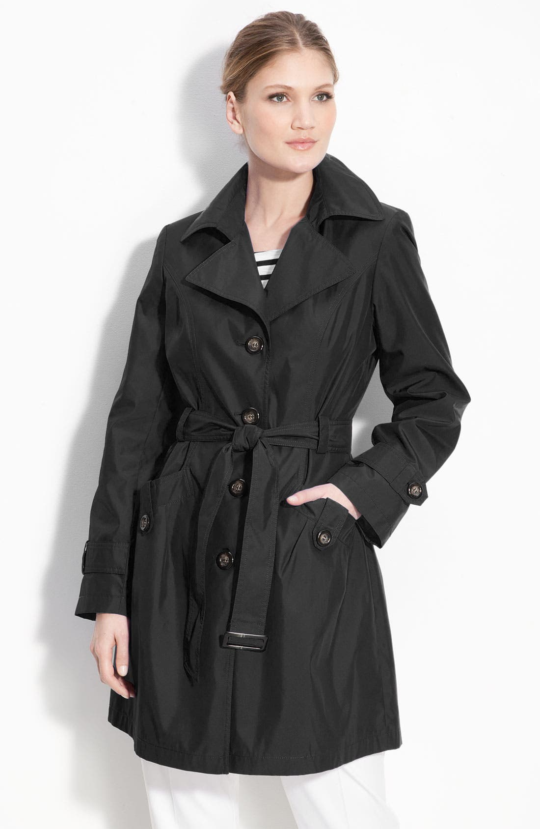 Single Breasted 'Memory' Trench Coat,                             Main thumbnail 1, color,                             001