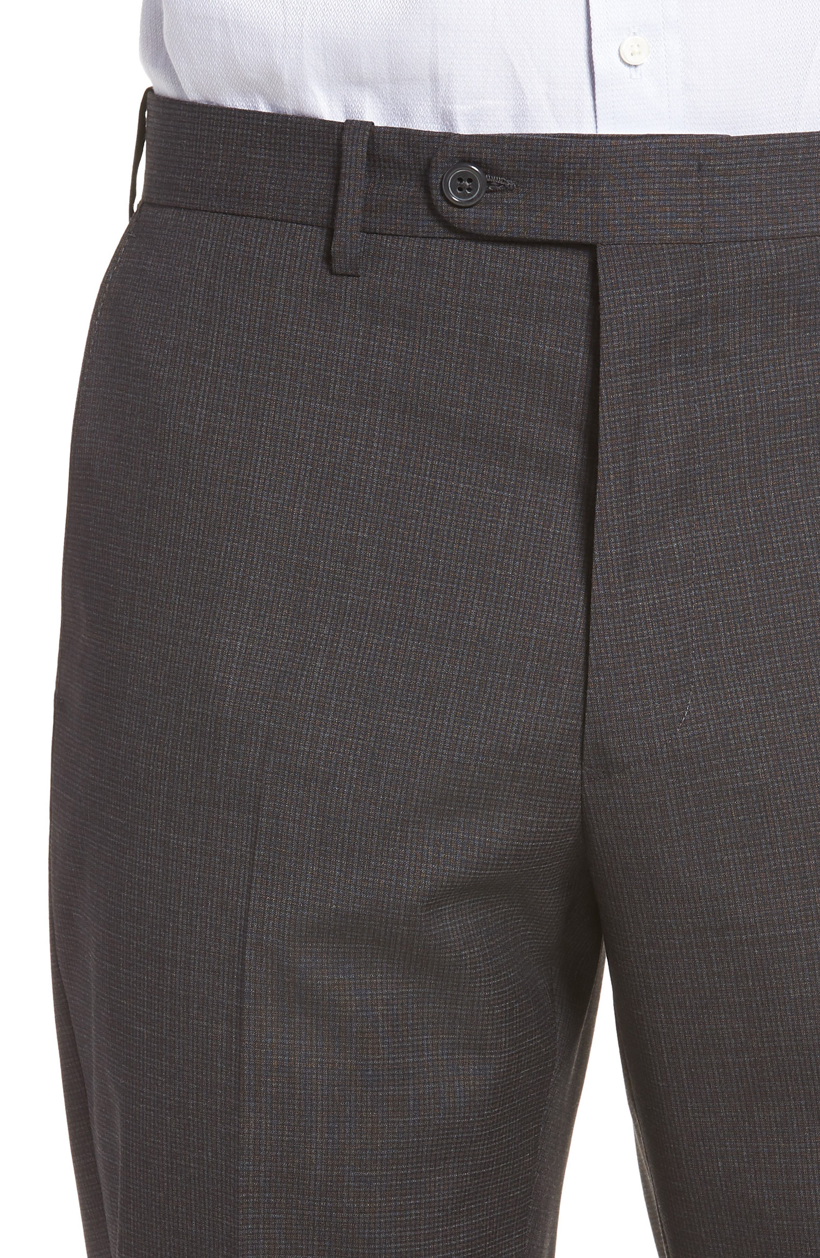 Torino Traditional Fit Flat Front Houndstooth Trousers,                             Alternate thumbnail 4, color,                             CHARCOAL