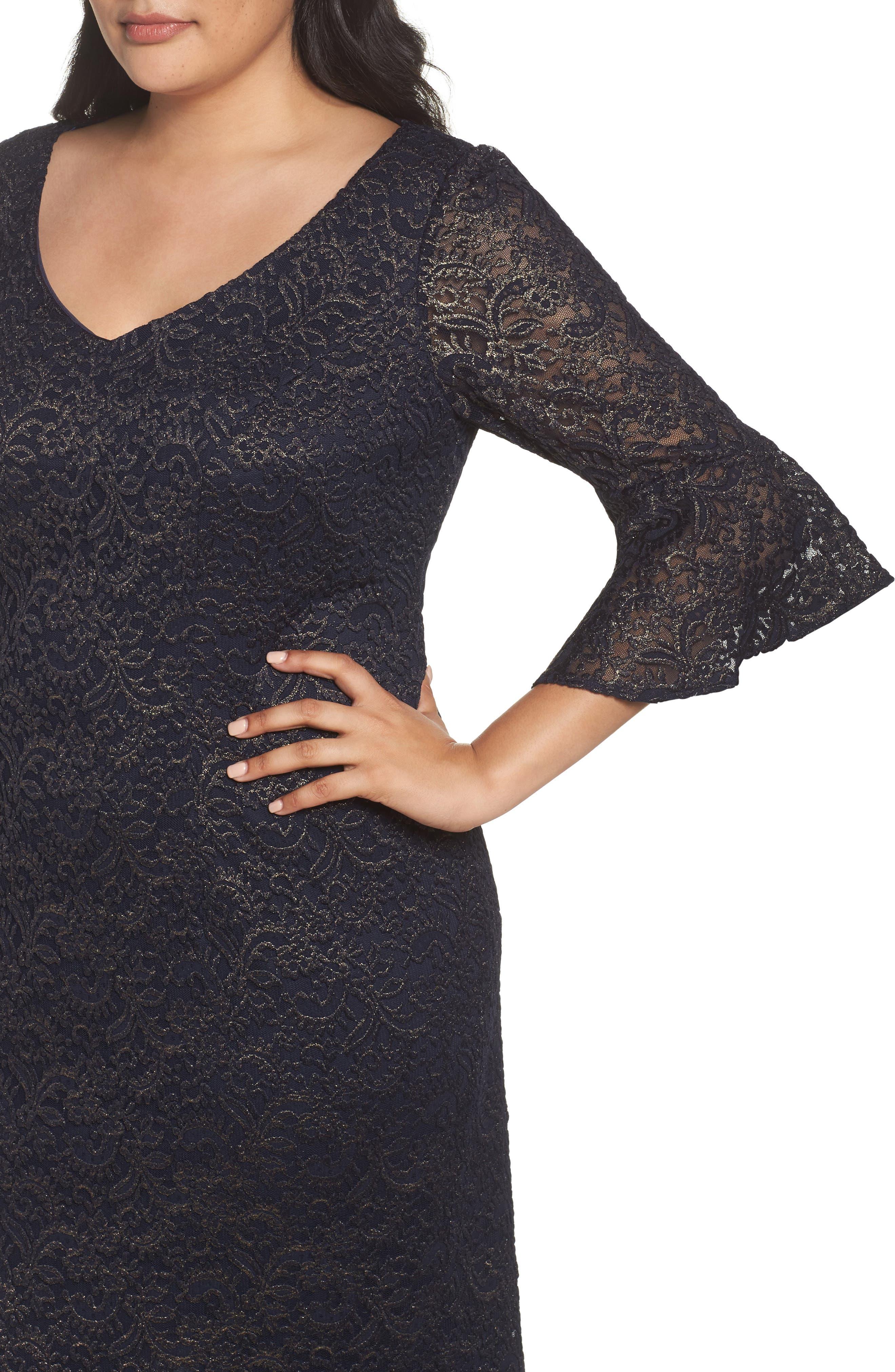 Metallic Lace Sheath Dress,                             Alternate thumbnail 4, color,
