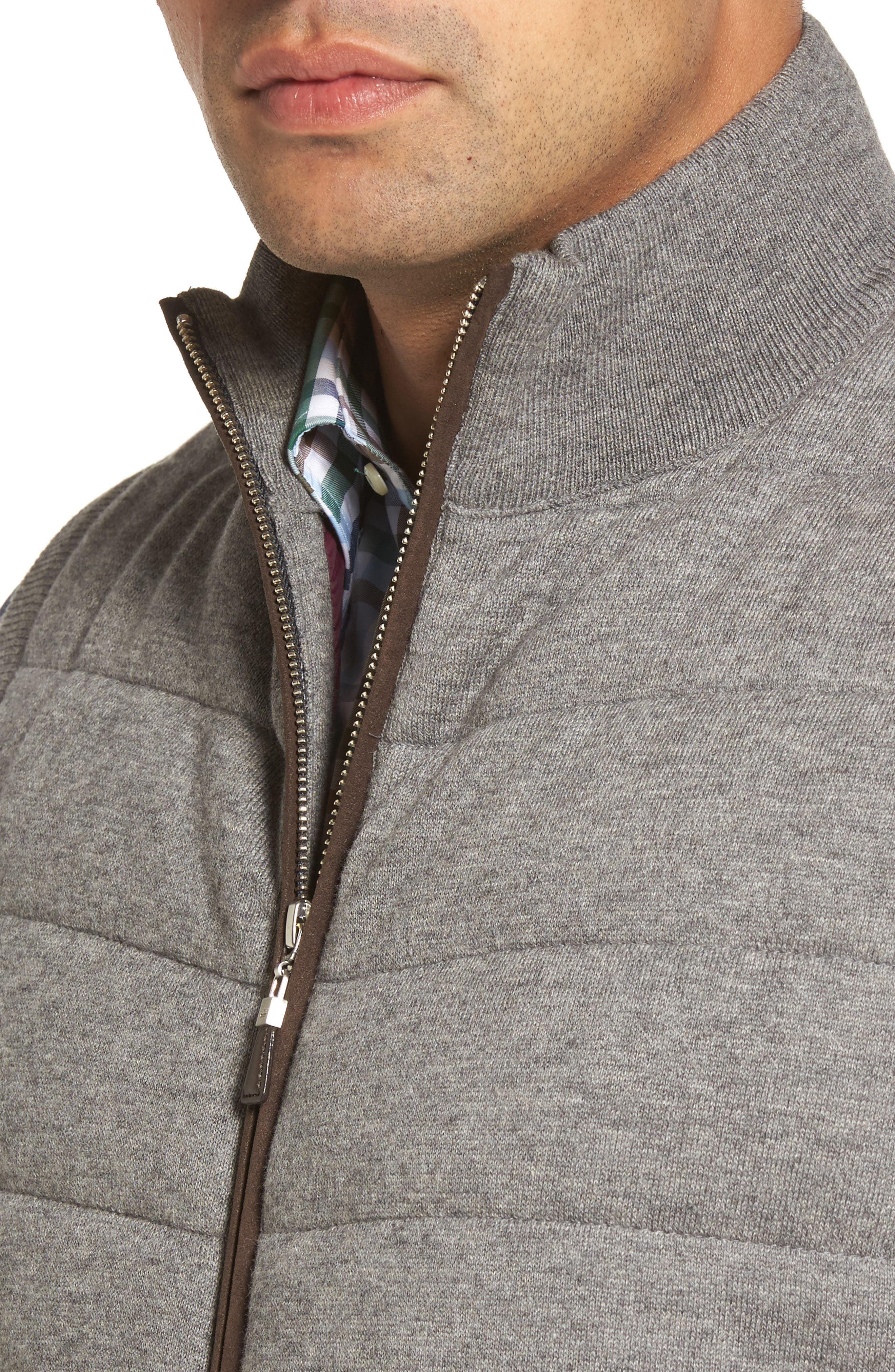 Quilted Wool & Cotton Full Zip Vest,                             Alternate thumbnail 4, color,                             020