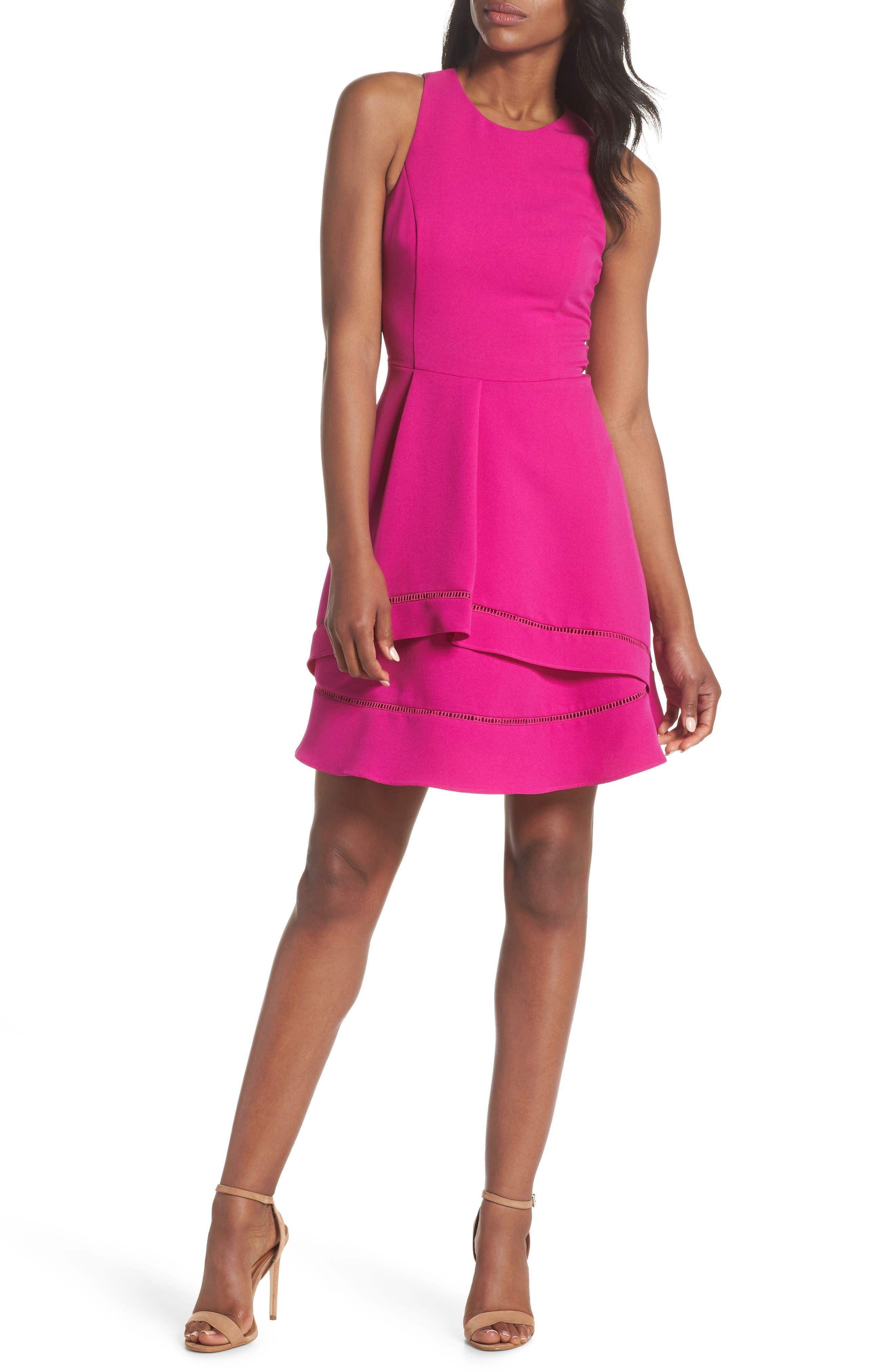 Gemma Fit & Flare Dress,                             Alternate thumbnail 10, color,