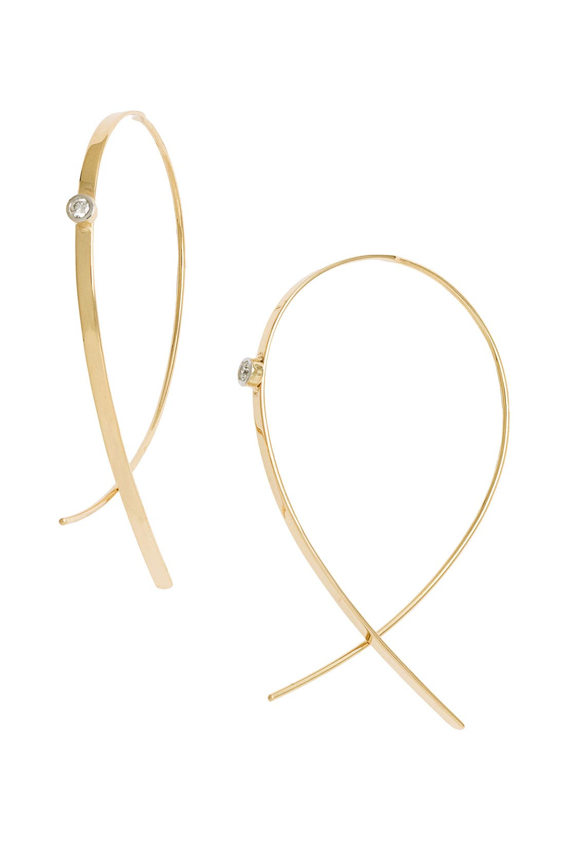 'Small Upside Down' Diamond Hoop Earrings,                             Main thumbnail 1, color,                             YELLOW GOLD