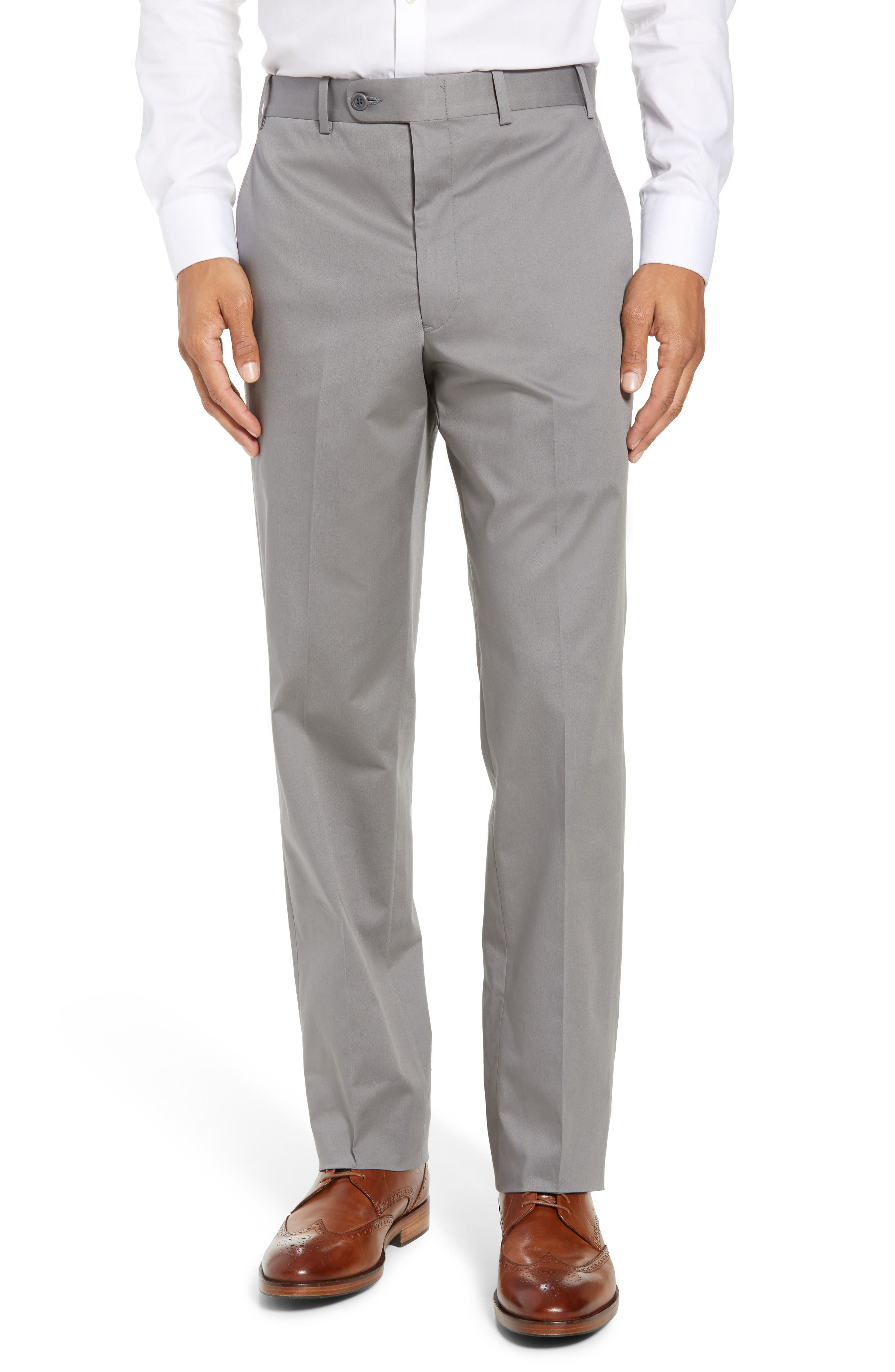 Torino Traditional Fit Flat Front Solid Stretch Cotton Trousers,                             Main thumbnail 1, color,                             GREY