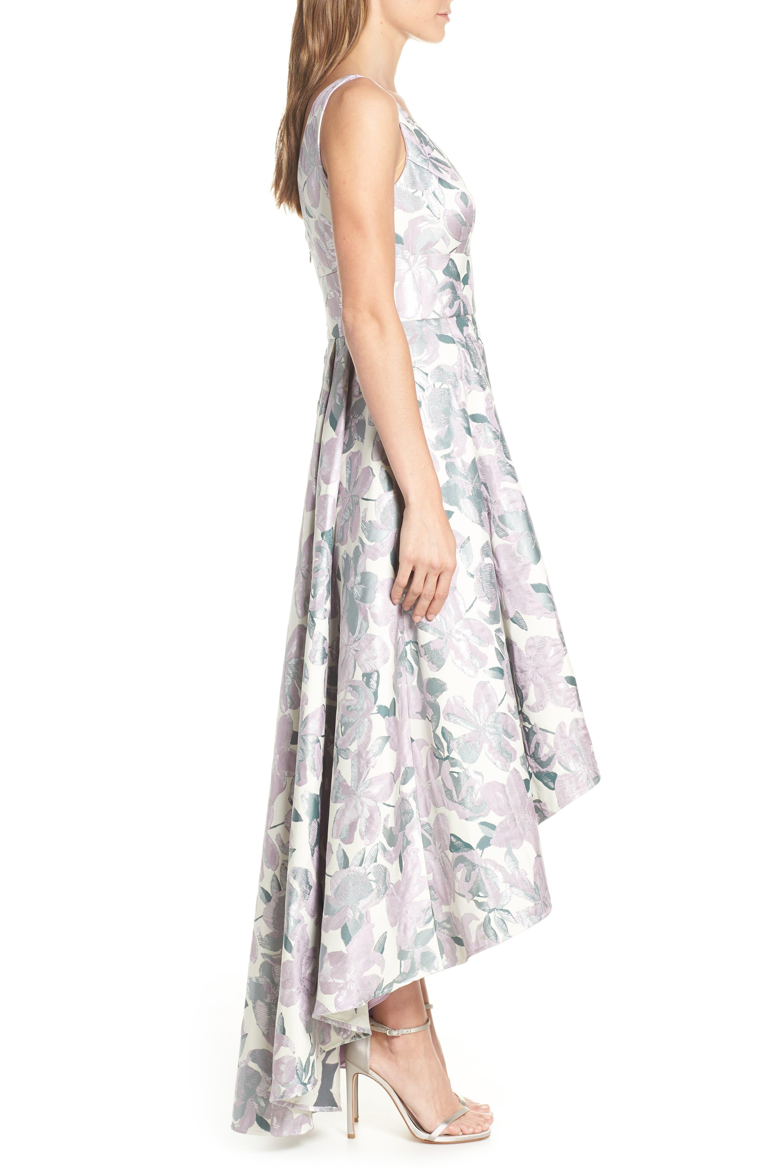 Floral Jacquard High/Low Evening Dress,                             Alternate thumbnail 3, color,                             LILAC COMBINATION