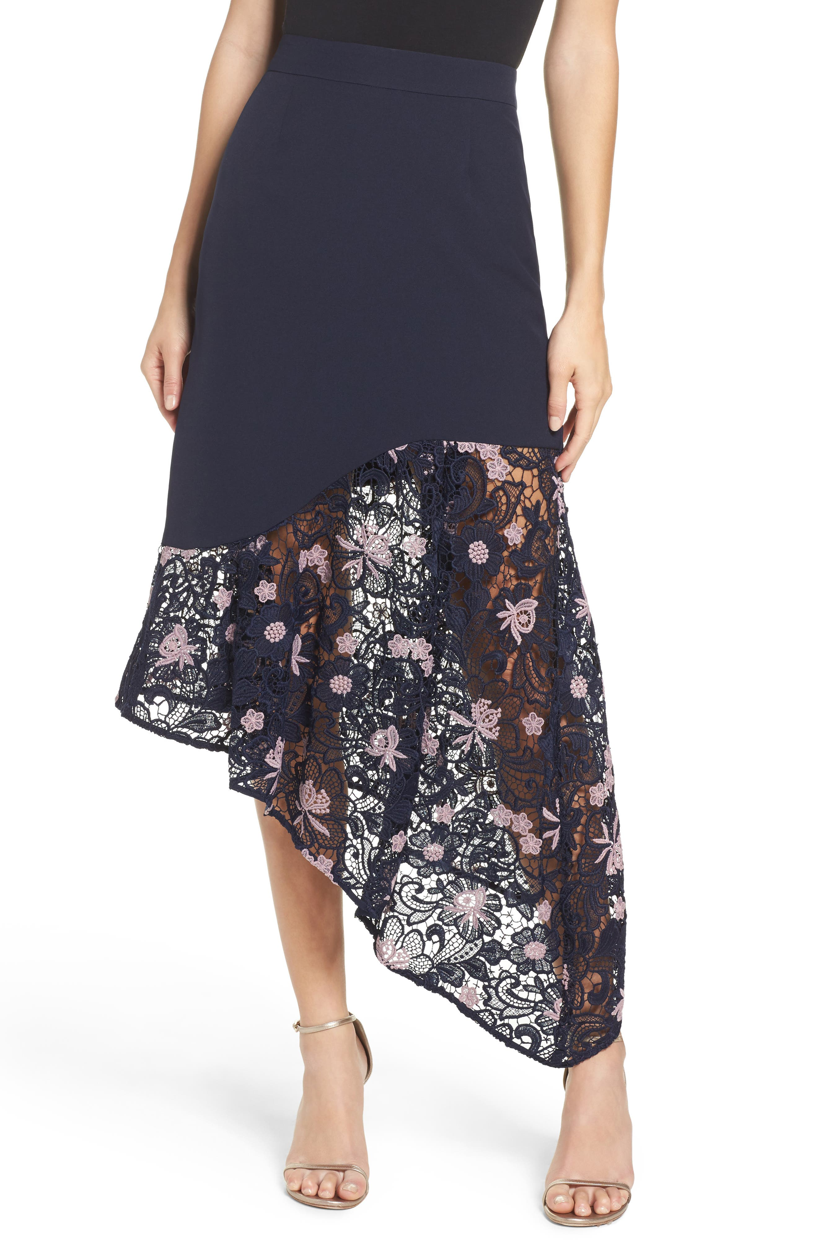 Botanic Bloom Lace Asymmetric Skirt,                             Main thumbnail 1, color,                             413