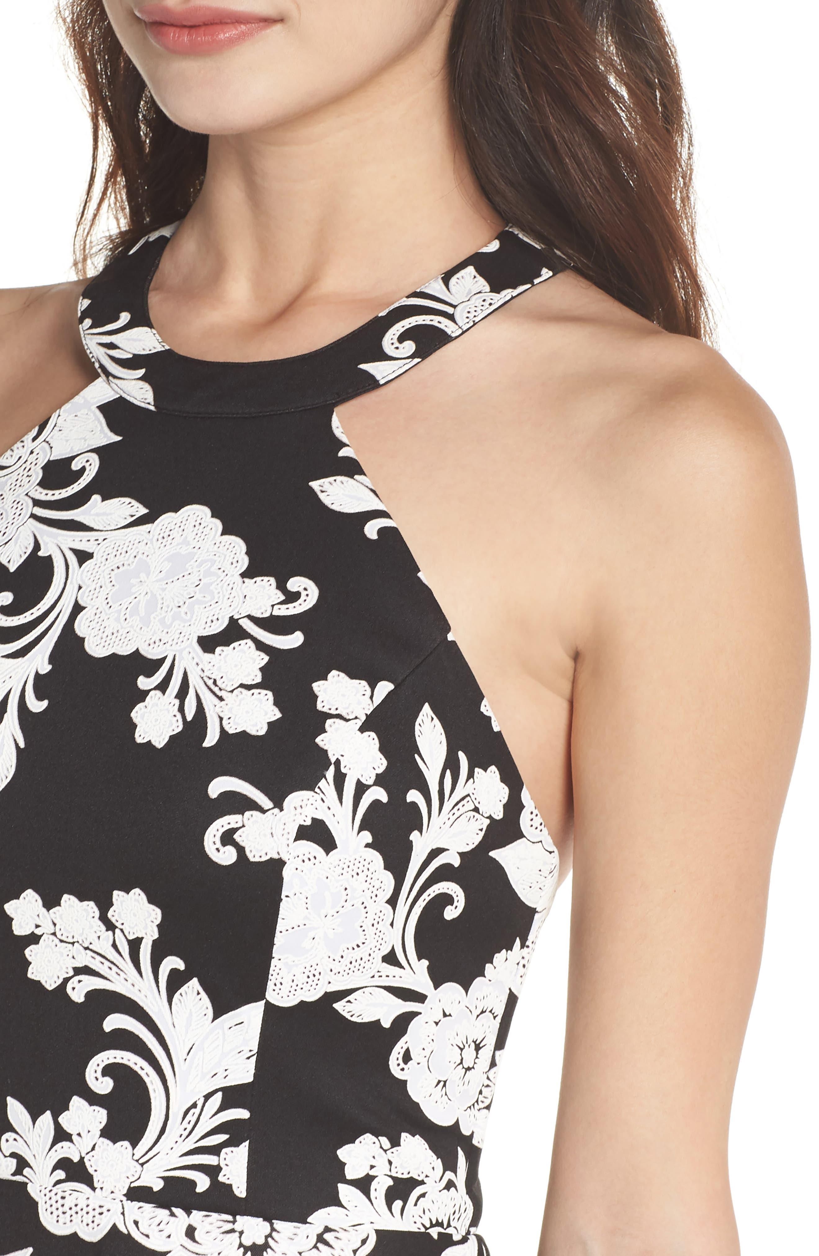 Strappy Back Scuba Halter Dress,                             Alternate thumbnail 4, color,                             BLACK/ CREAM