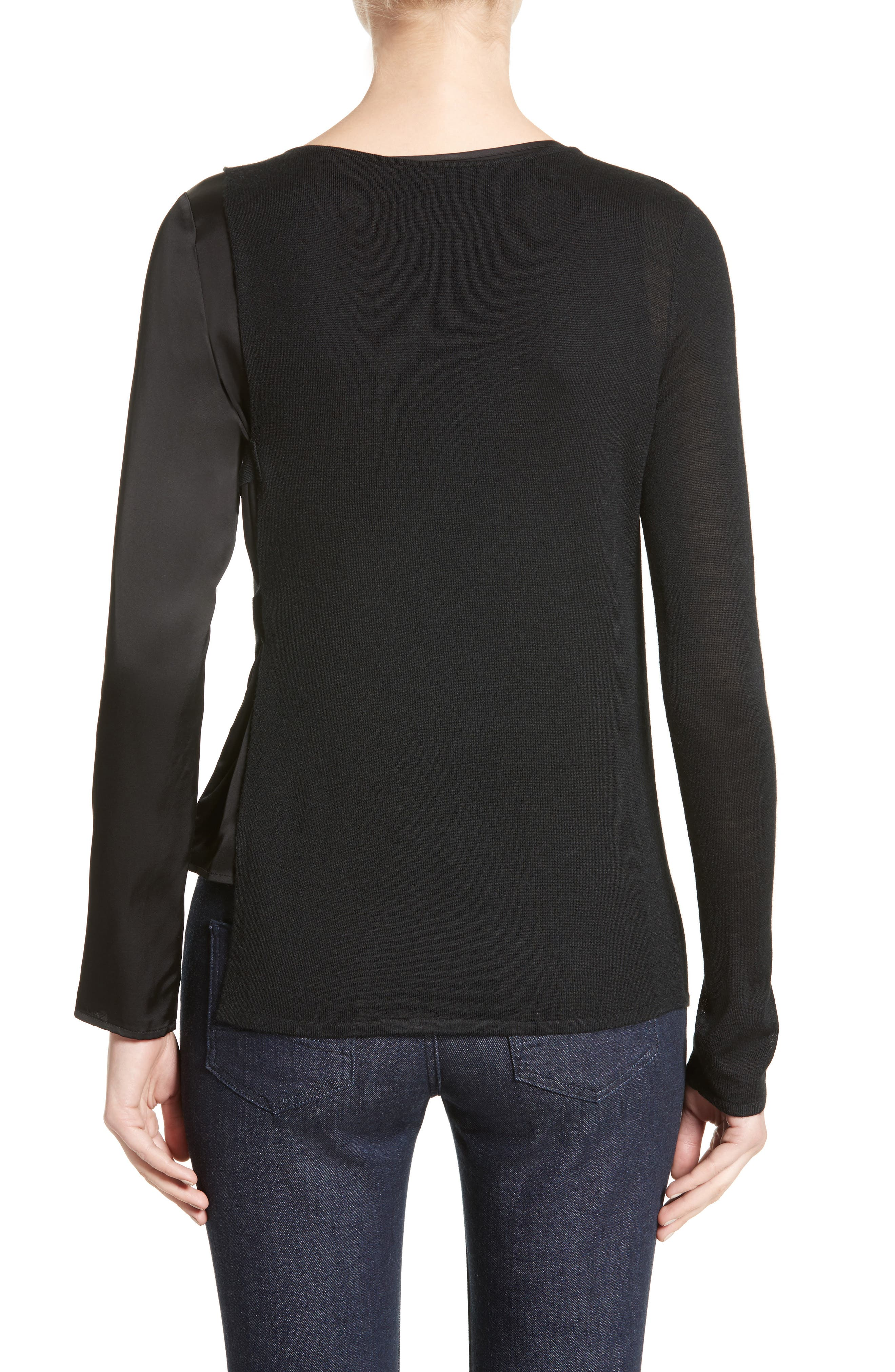 Armani Jeans D-Ring Wool Blend Sweater,                             Alternate thumbnail 2, color,                             001