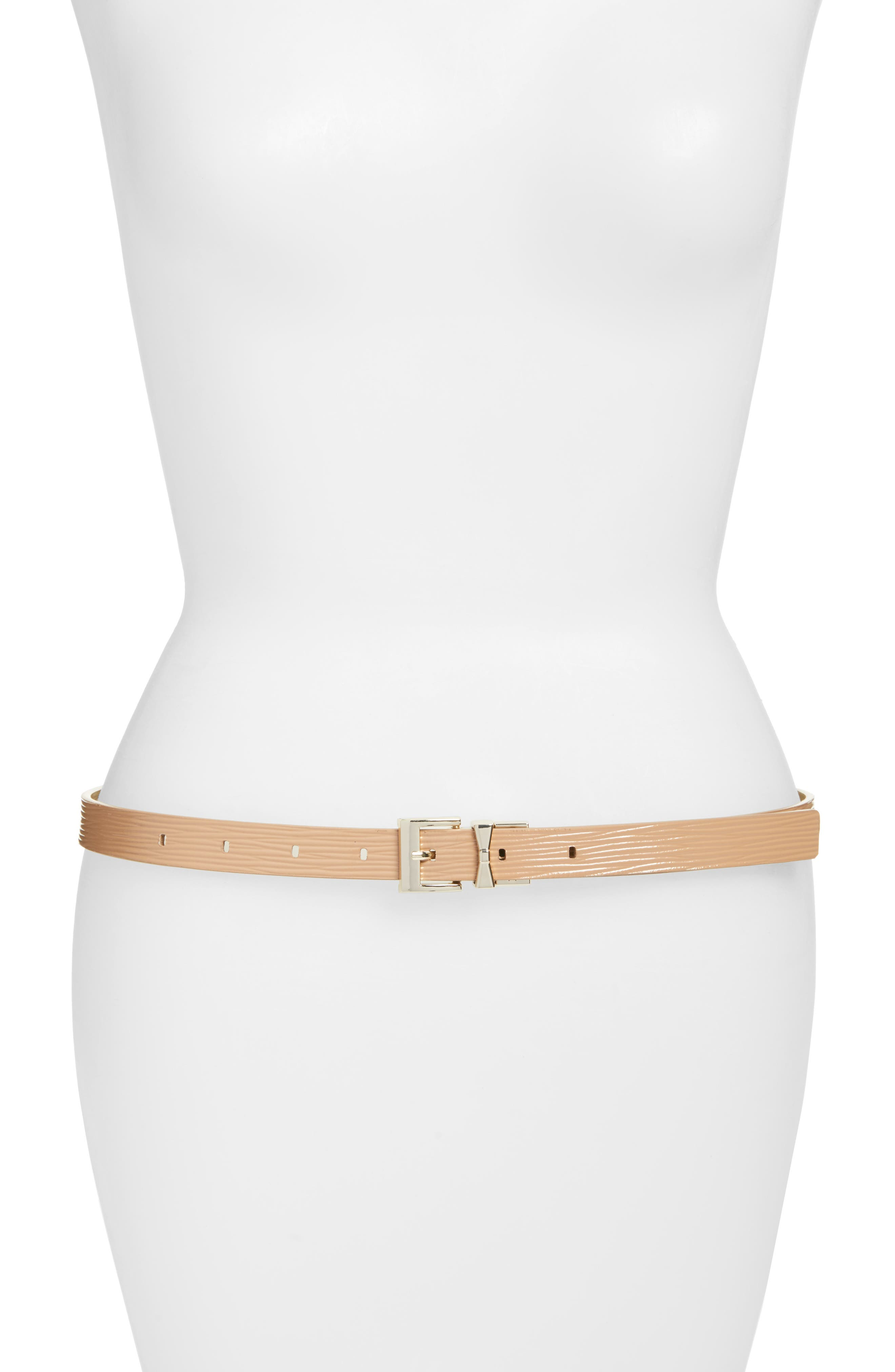 reversible skinny textured calfskin leather belt,                         Main,                         color,