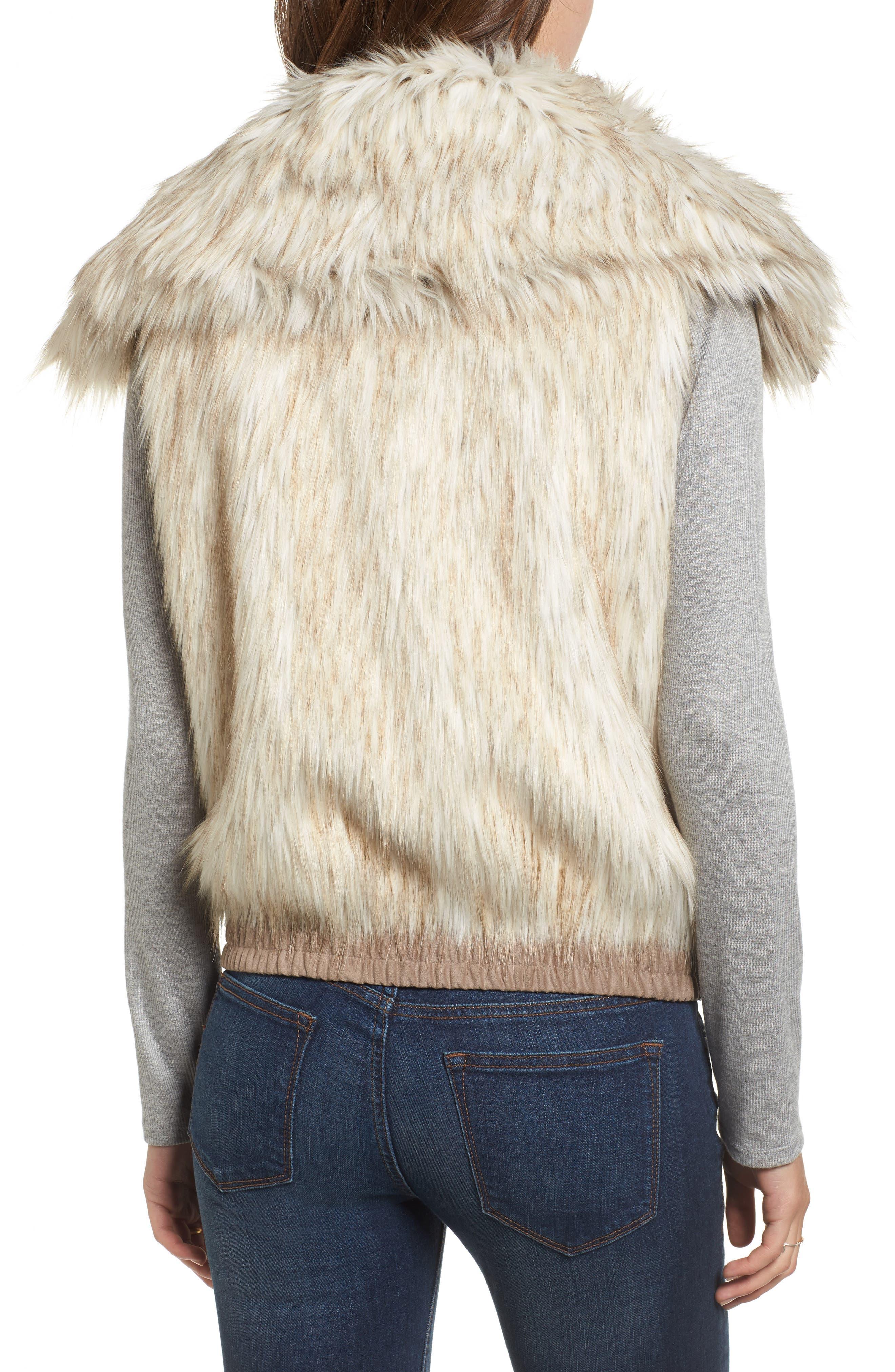 Collared Faux Fur Vest,                             Alternate thumbnail 2, color,                             161