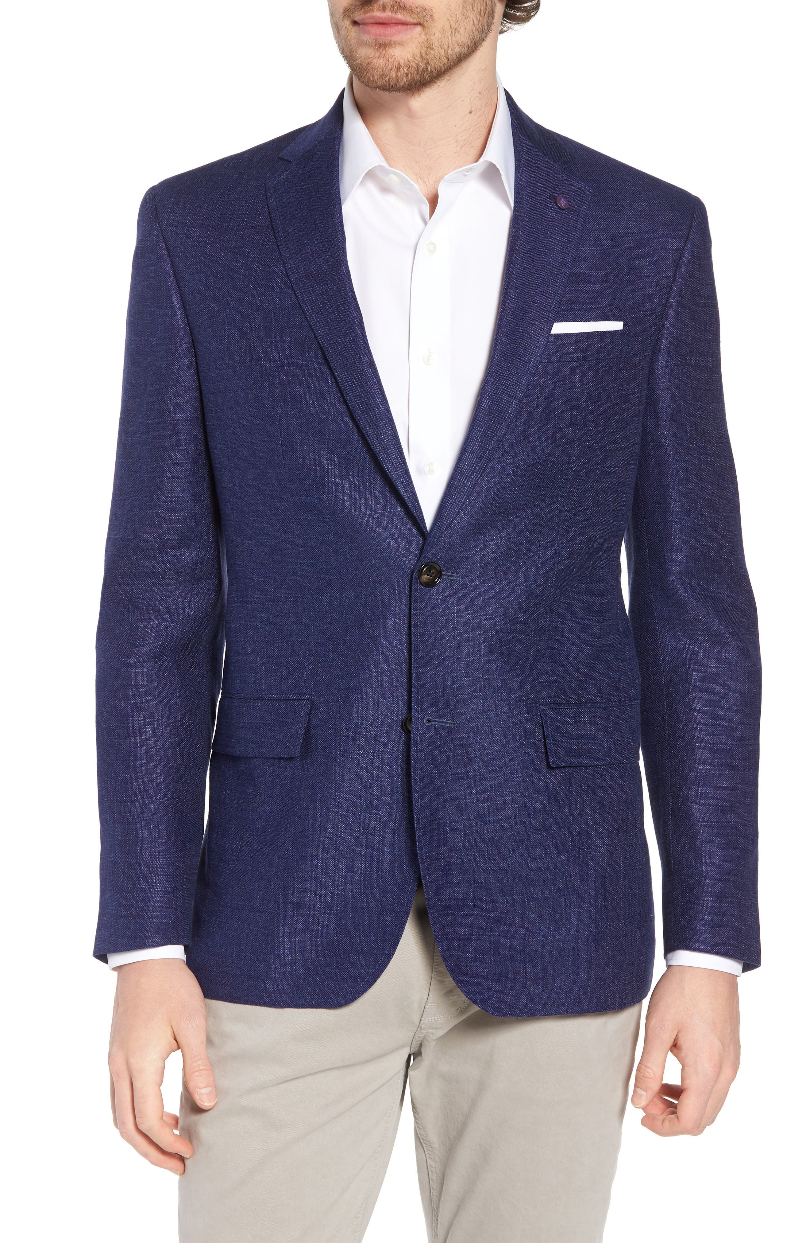 Jay Trim Fit Linen & Wool Blazer,                             Main thumbnail 1, color,