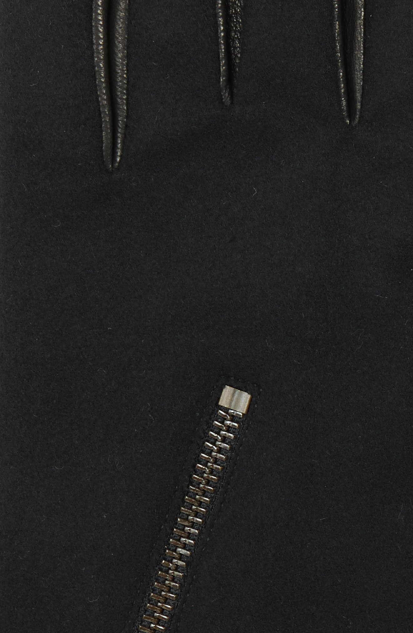 Wool Blend Zip Gloves,                             Alternate thumbnail 4, color,