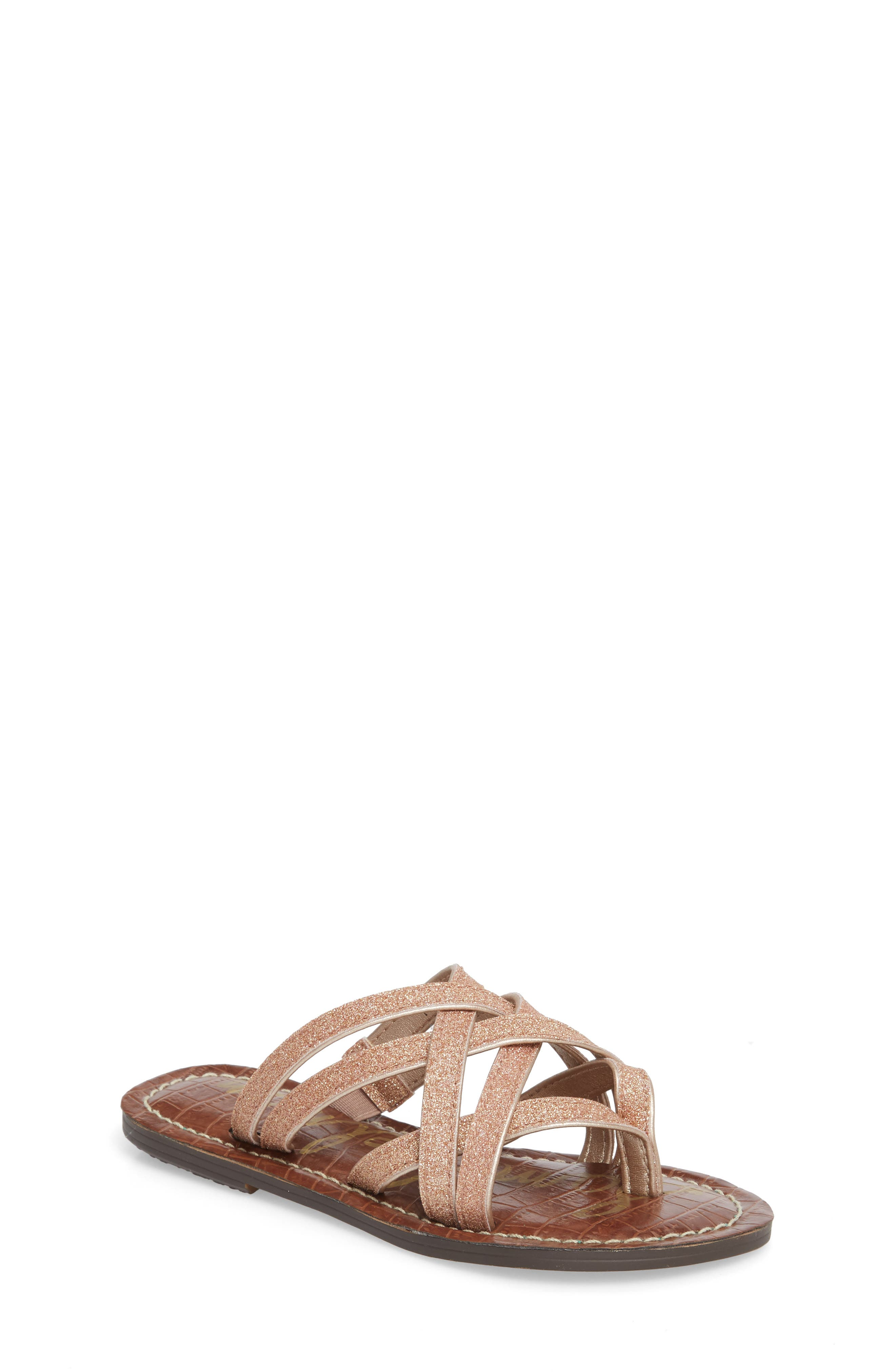 Georgette Glitter Flat Sandal,                             Main thumbnail 2, color,
