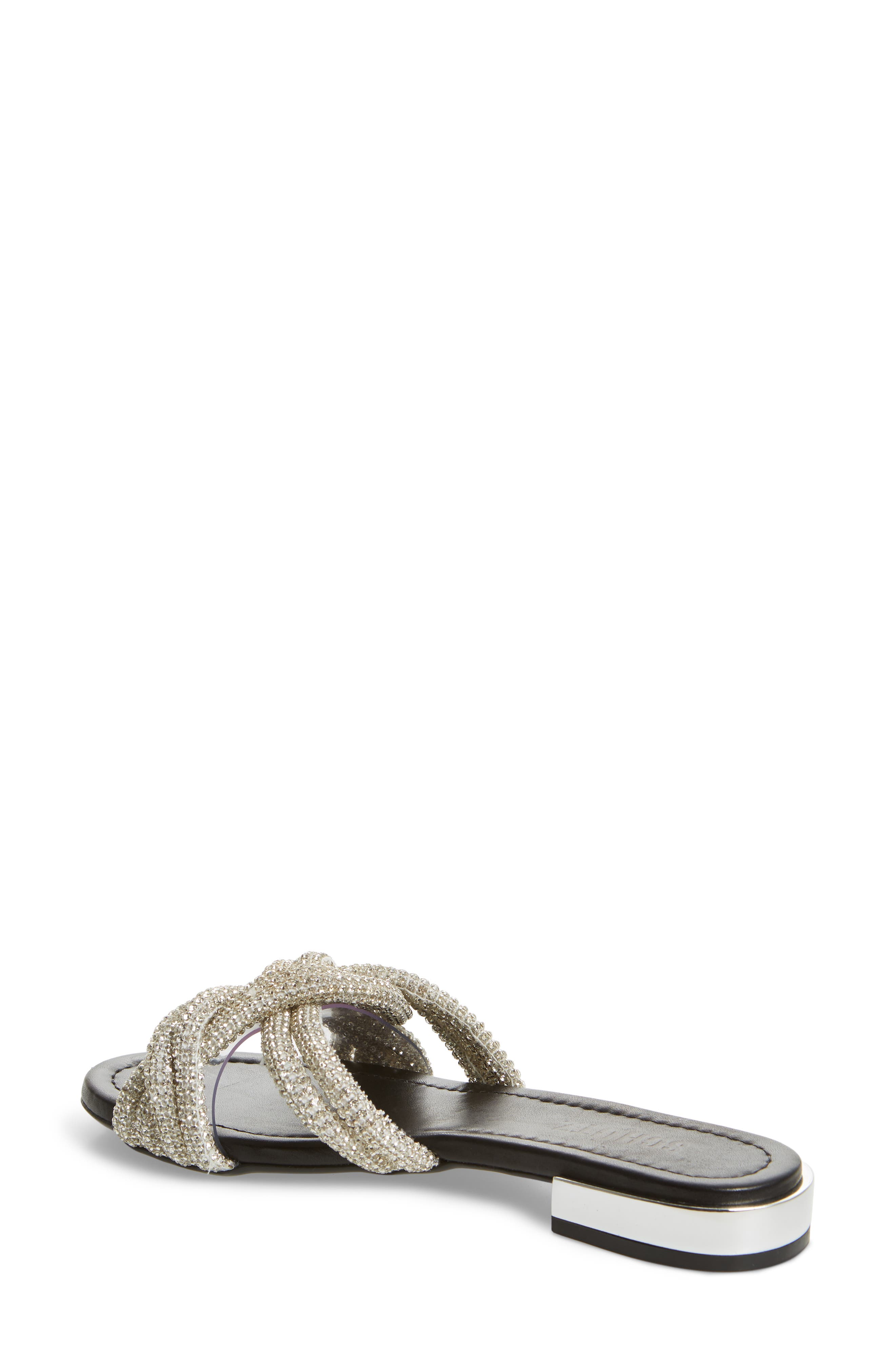 Lindy Braided Slide Sandal,                             Alternate thumbnail 2, color,                             SILVER METALLIC