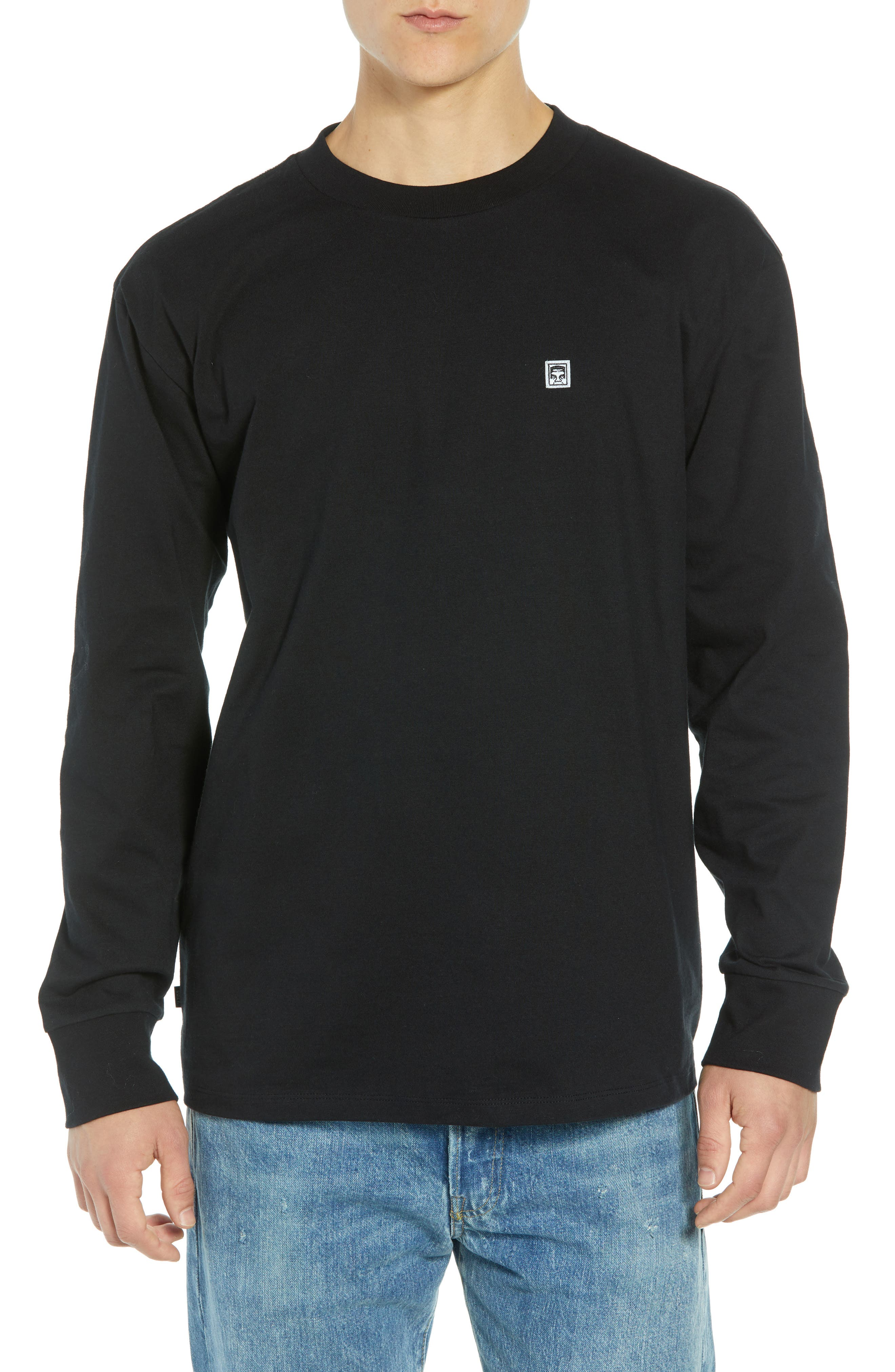 Eighty-Nine Solid Box Long Sleeve T-Shirt,                         Main,                         color, BLACK MULTI
