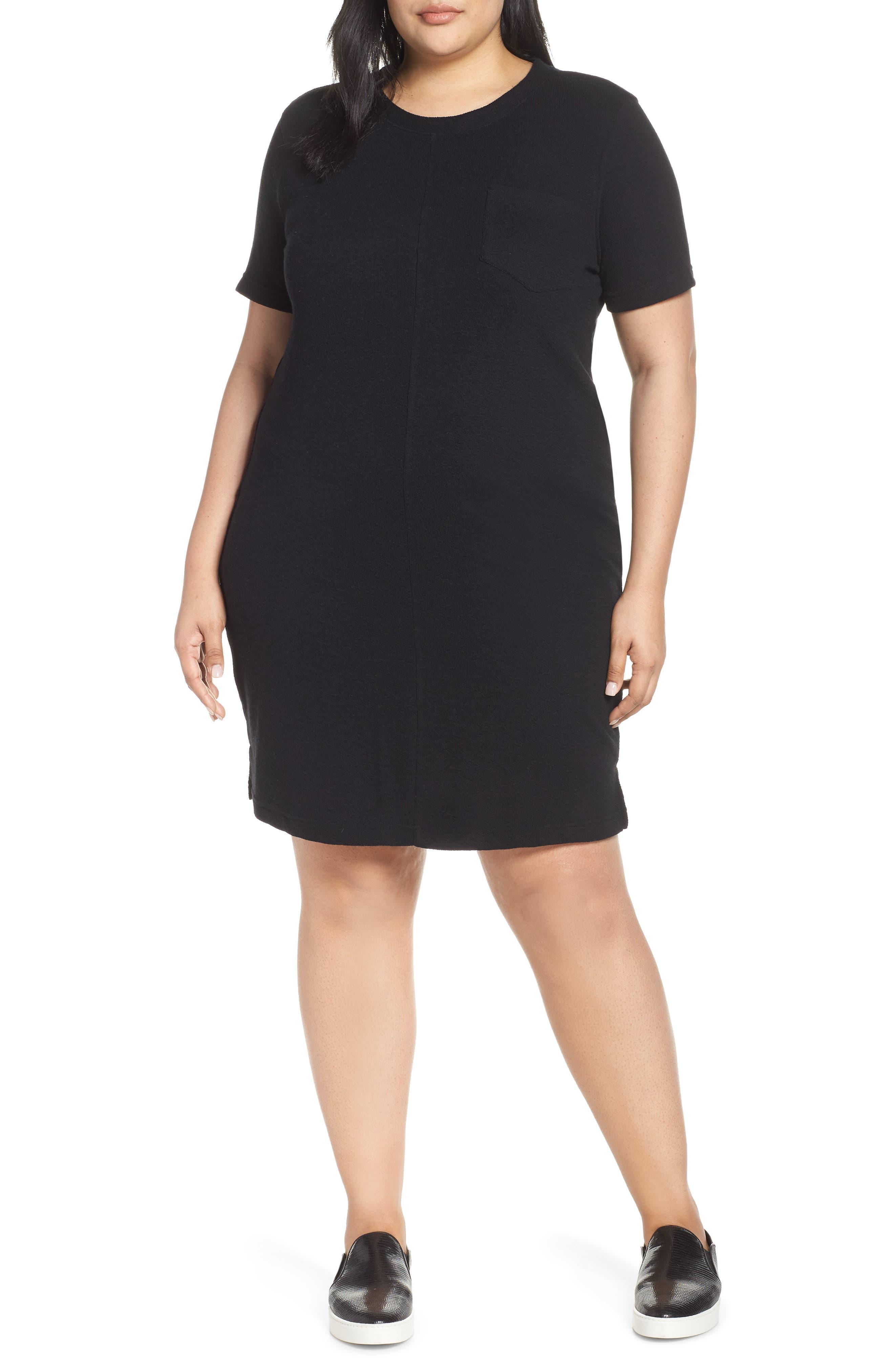 CASLON<SUP>®</SUP> T-Shirt Dress, Main, color, BLACK