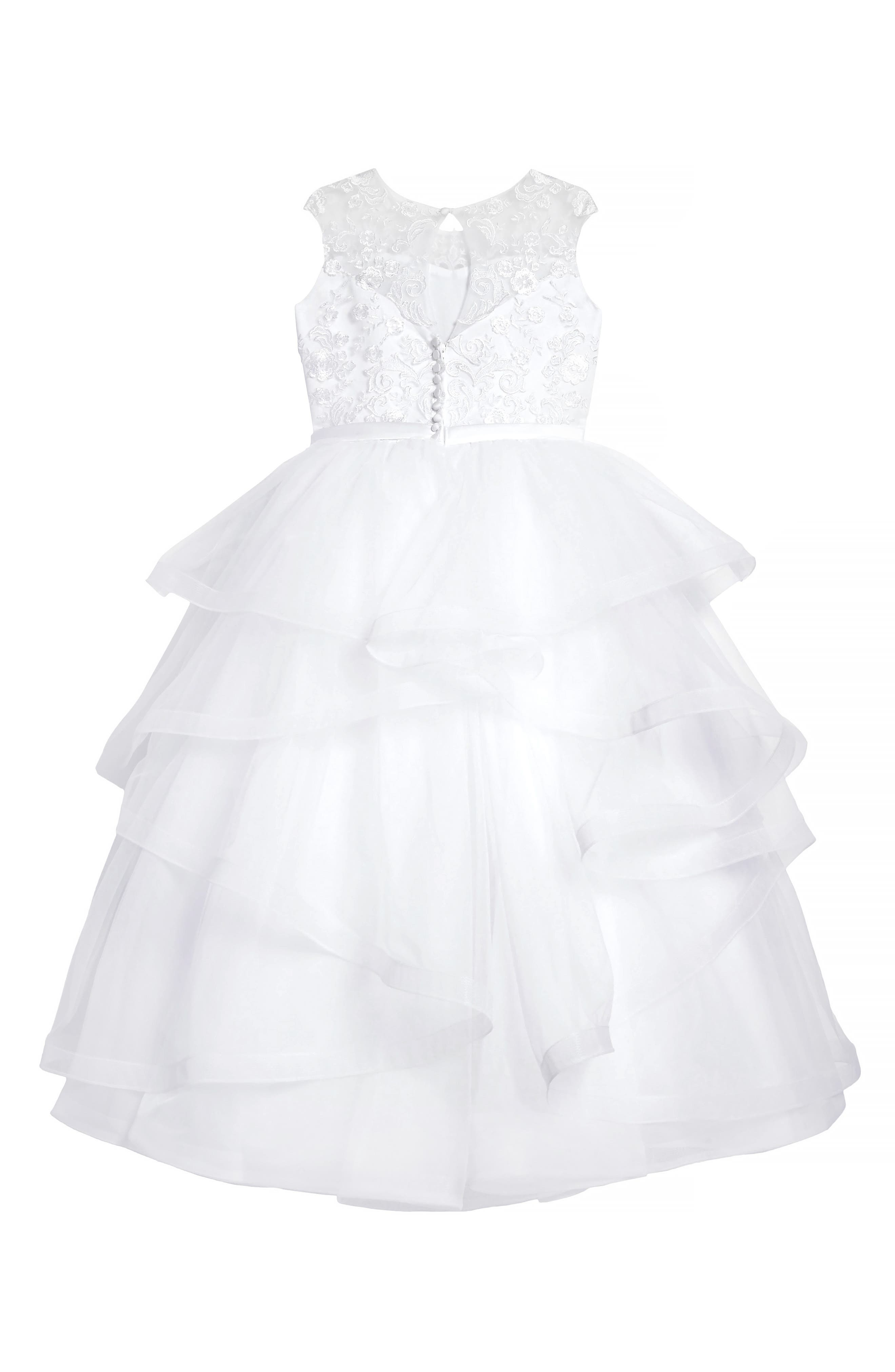 Tiered First Communion Dress,                             Alternate thumbnail 2, color,                             100