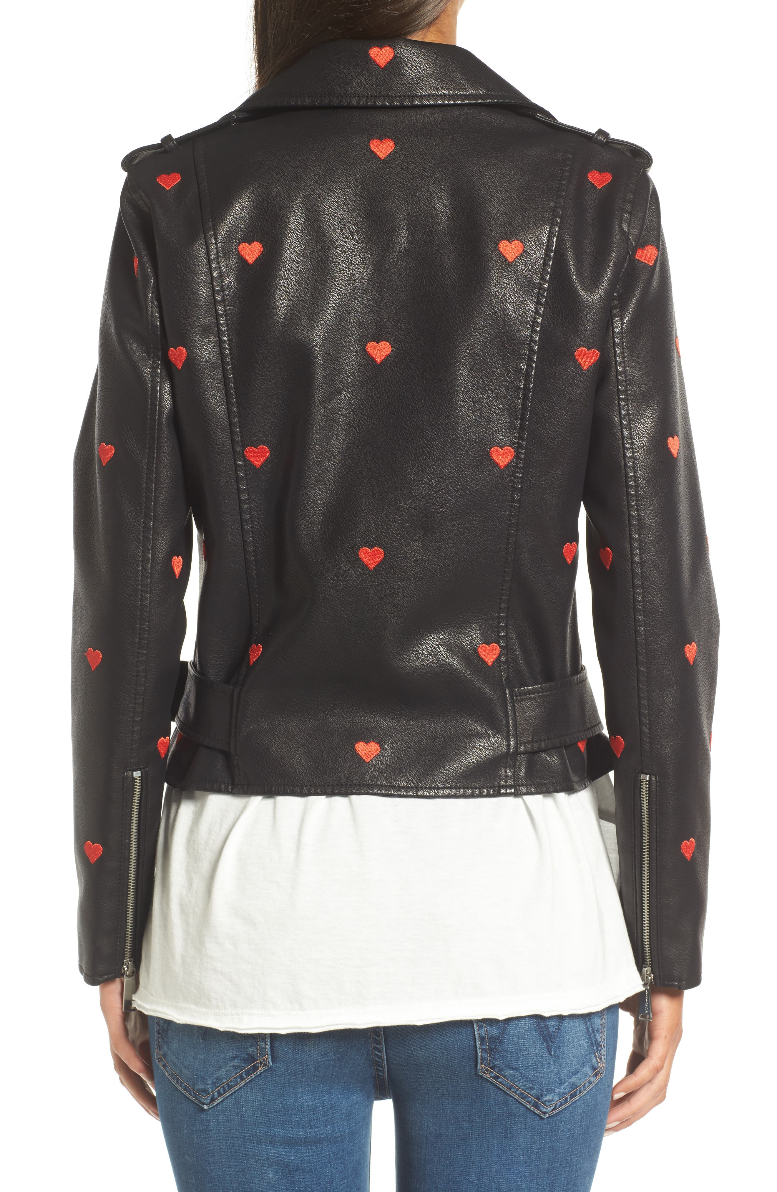 Heart Embroidered Faux Leather Moto Jacket,                             Alternate thumbnail 2, color,                             001