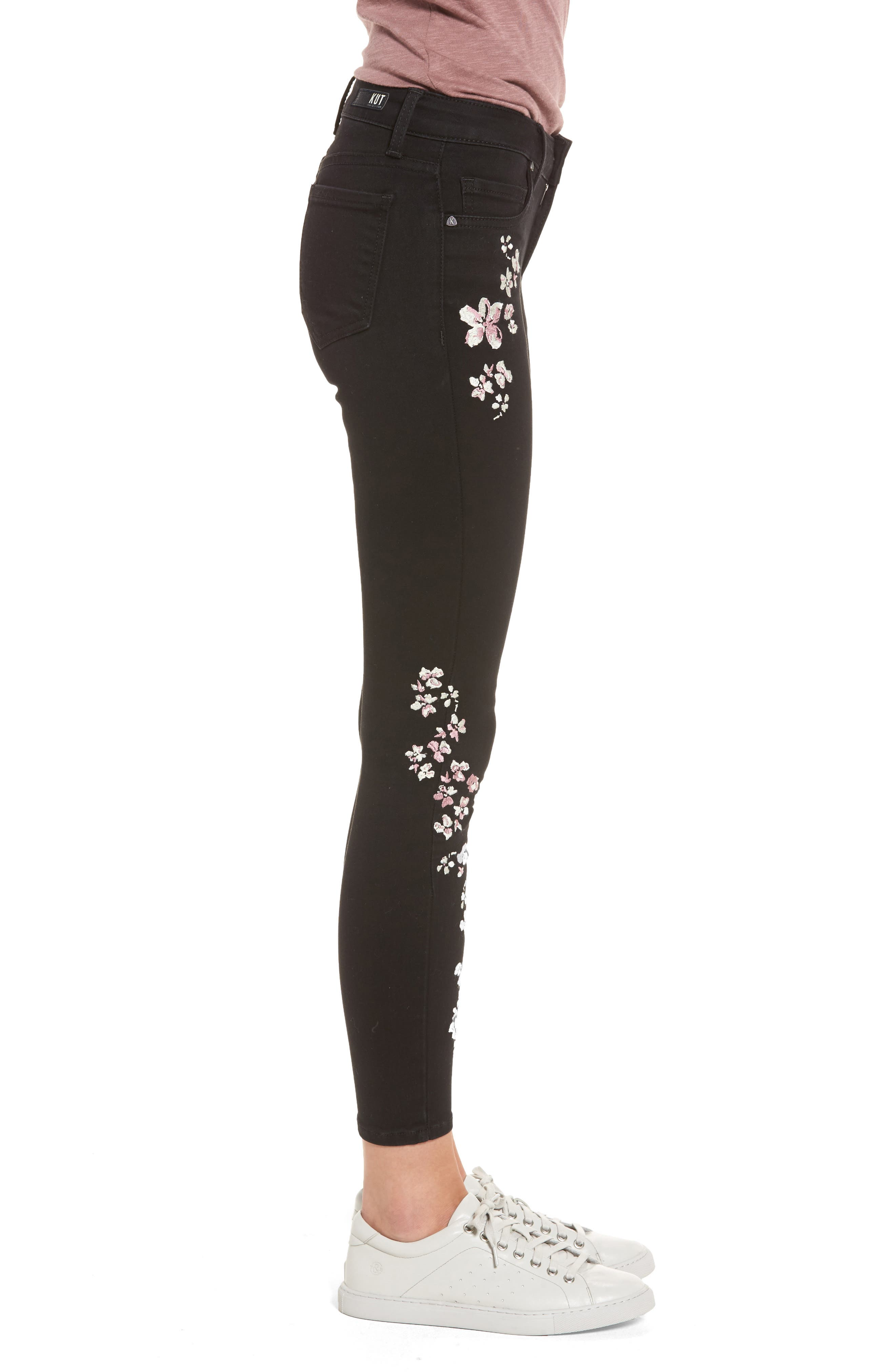 Connie Embroidered Skinny Ankle Jeans,                             Alternate thumbnail 3, color,                             002