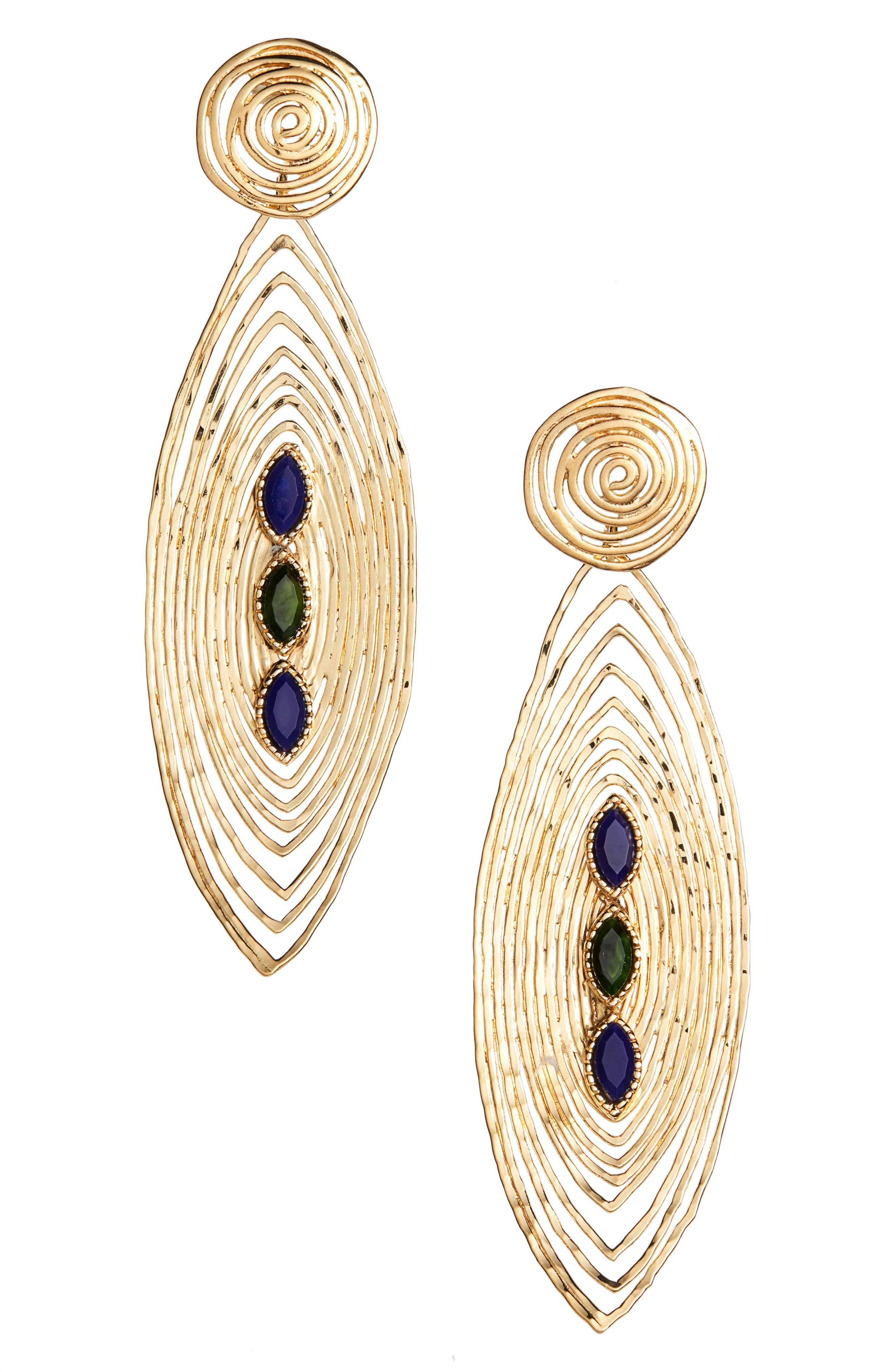 Longwave Cabochon Drop Earrings,                         Main,                         color, 400