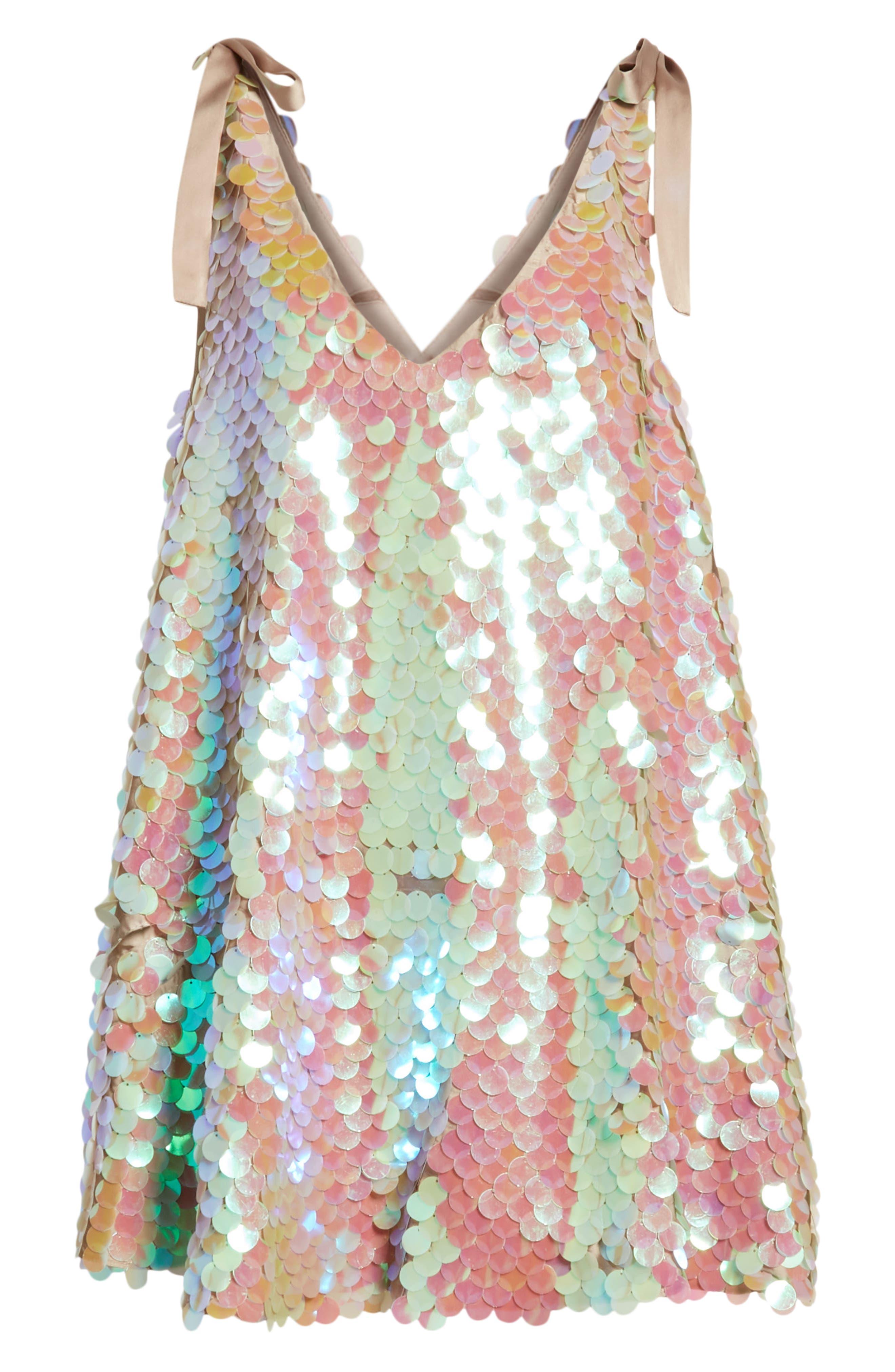 Penelope Glitter Disc Sequin Swing Dress,                             Alternate thumbnail 7, color,                             440
